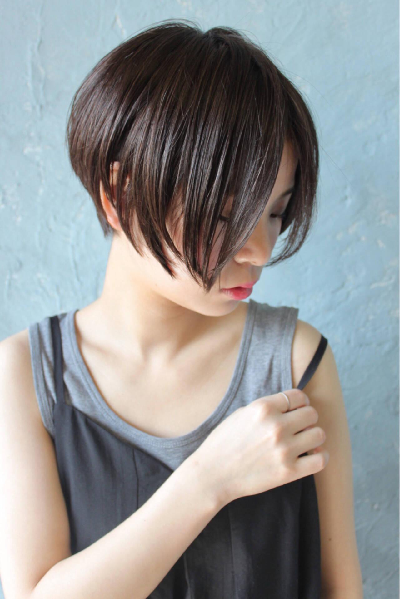ボブ 艶髪 黒髪 ショートボブヘアスタイルや髪型の写真・画像