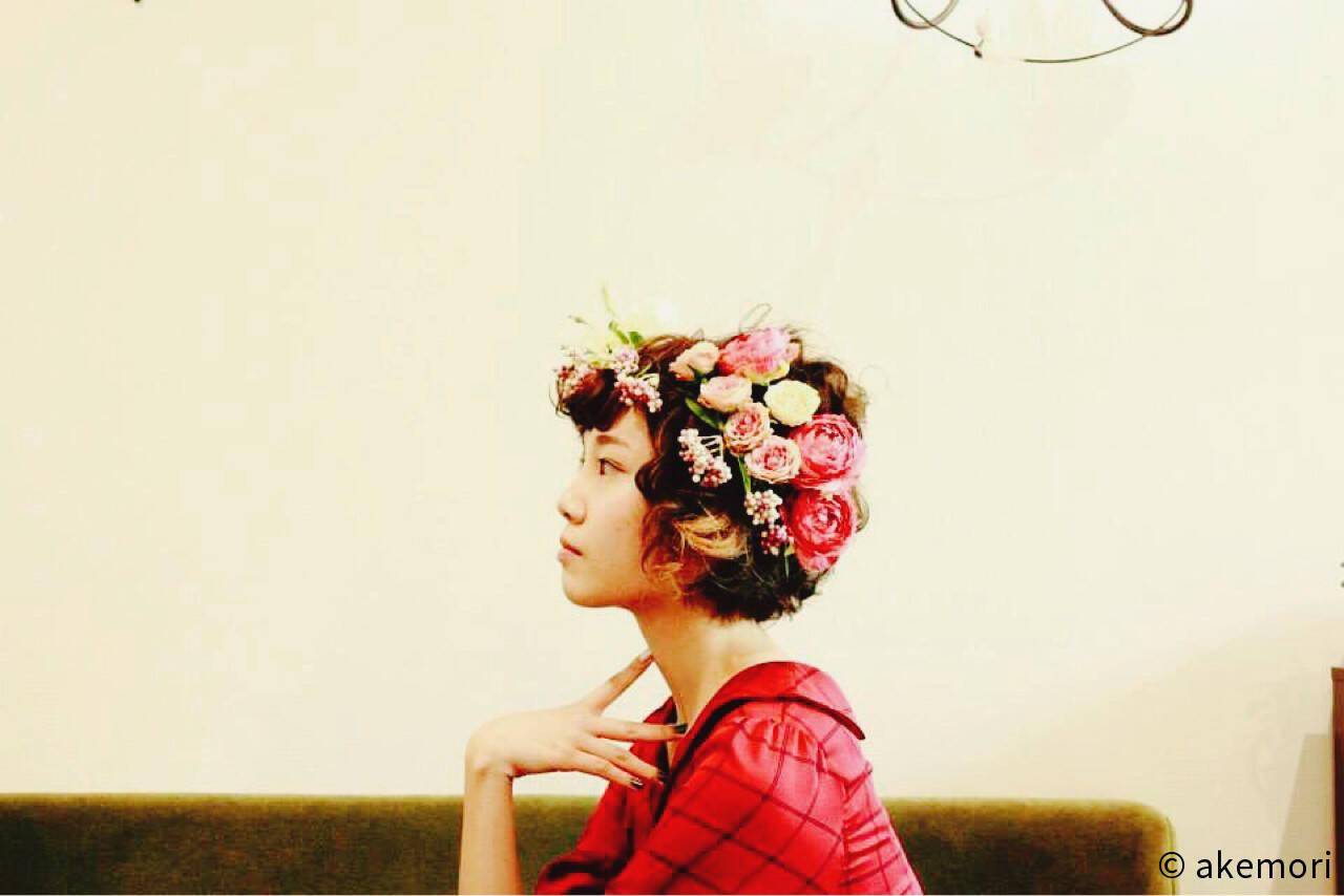 ヘアアレンジ ボブ ブライダル パーマヘアスタイルや髪型の写真・画像