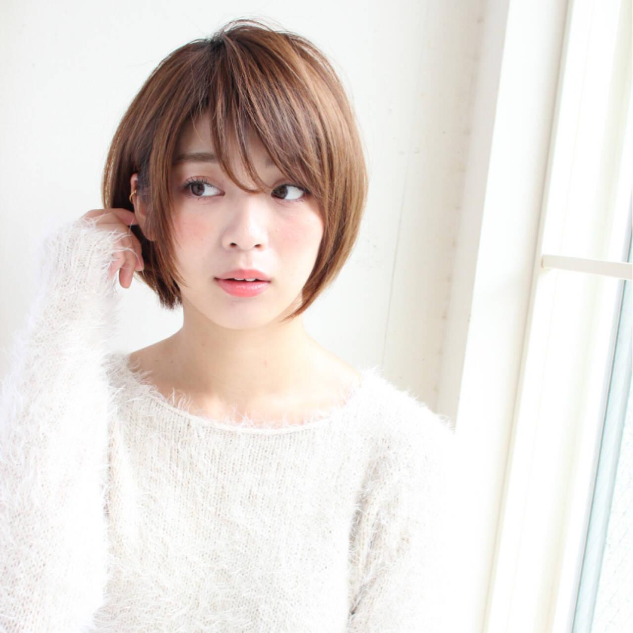 フェミニン ショート 冬ヘアスタイルや髪型の写真・画像