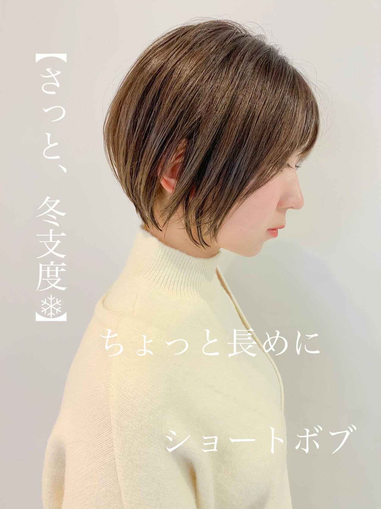ショート ナチュラル ショートヘア ミニボブヘアスタイルや髪型の写真・画像