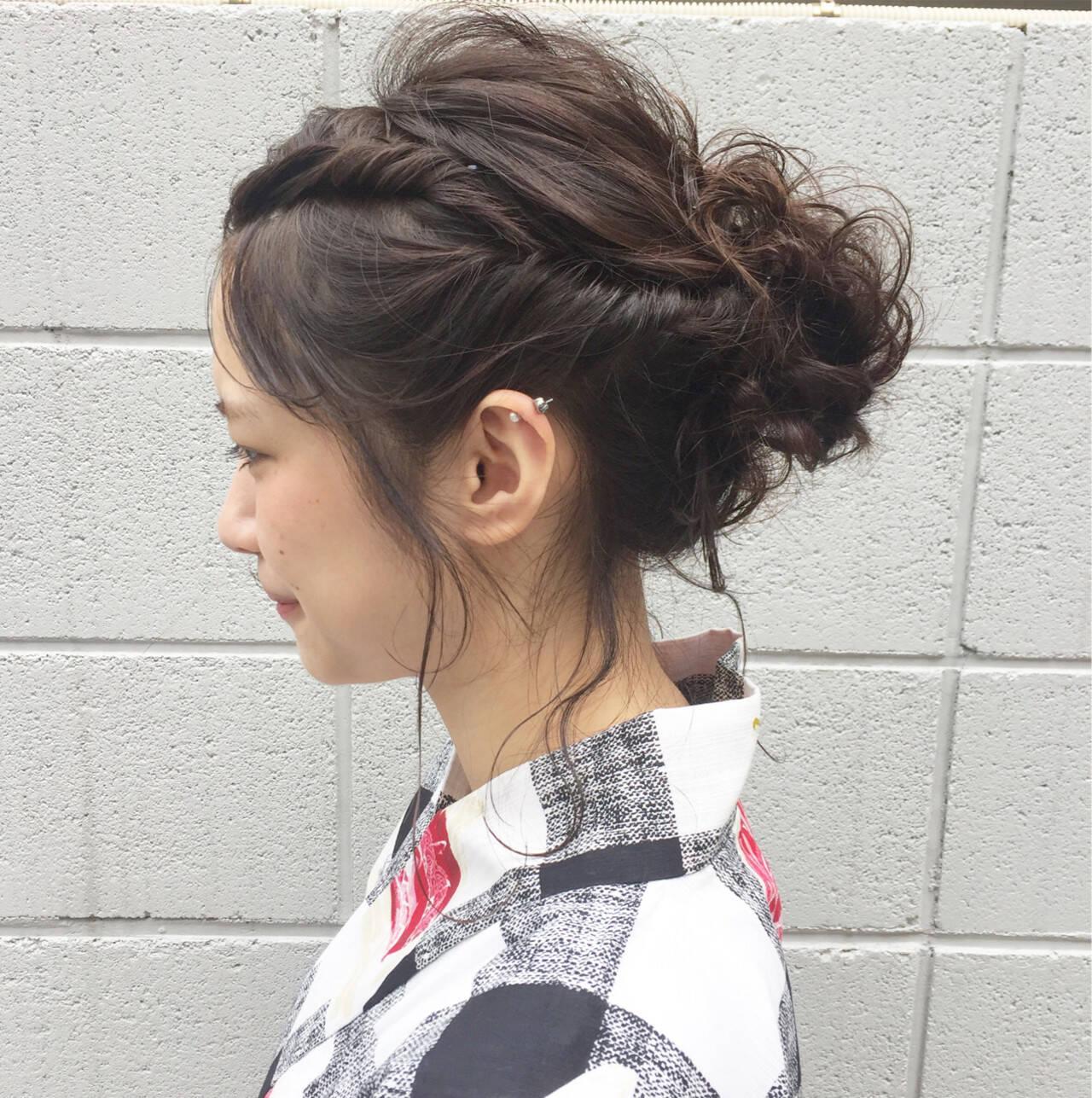 ミディアム 花火大会 ヘアアレンジ ナチュラルヘアスタイルや髪型の写真・画像