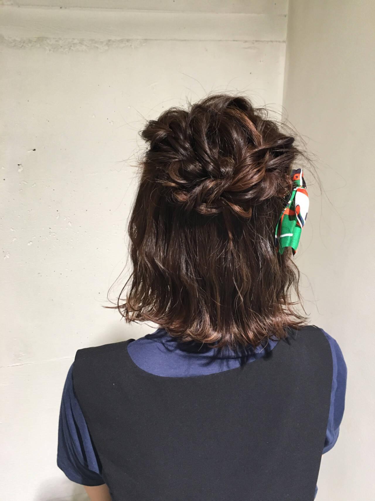 ガーリー 結婚式 ボブ 編み込みヘアスタイルや髪型の写真・画像