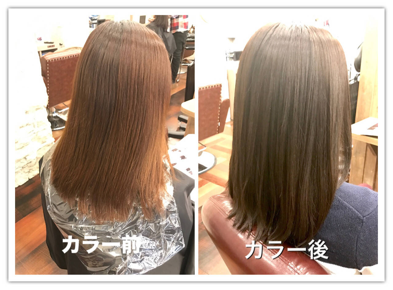 ナチュラル 外国人風カラー グレージュ セミロングヘアスタイルや髪型の写真・画像