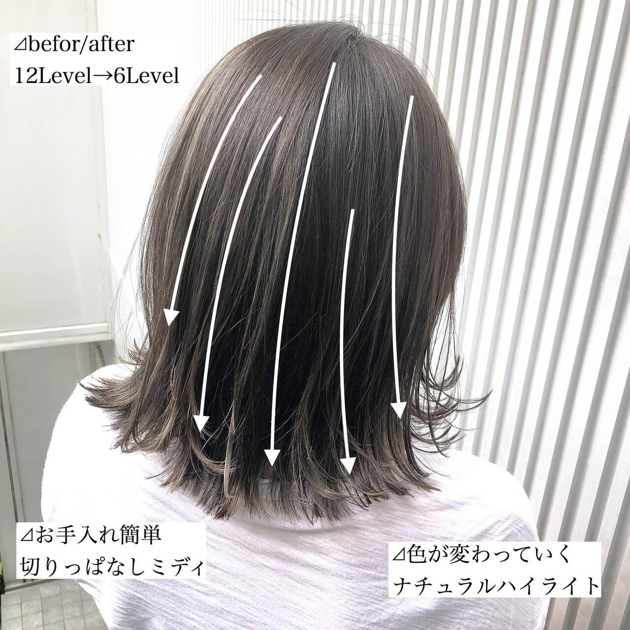前髪 ストレート ハイライト ナチュラルヘアスタイルや髪型の写真・画像
