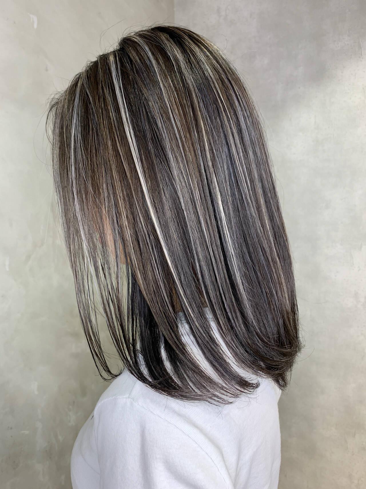 ホワイトブリーチ 大人ハイライト ハイライト ロングヘアスタイルや髪型の写真・画像