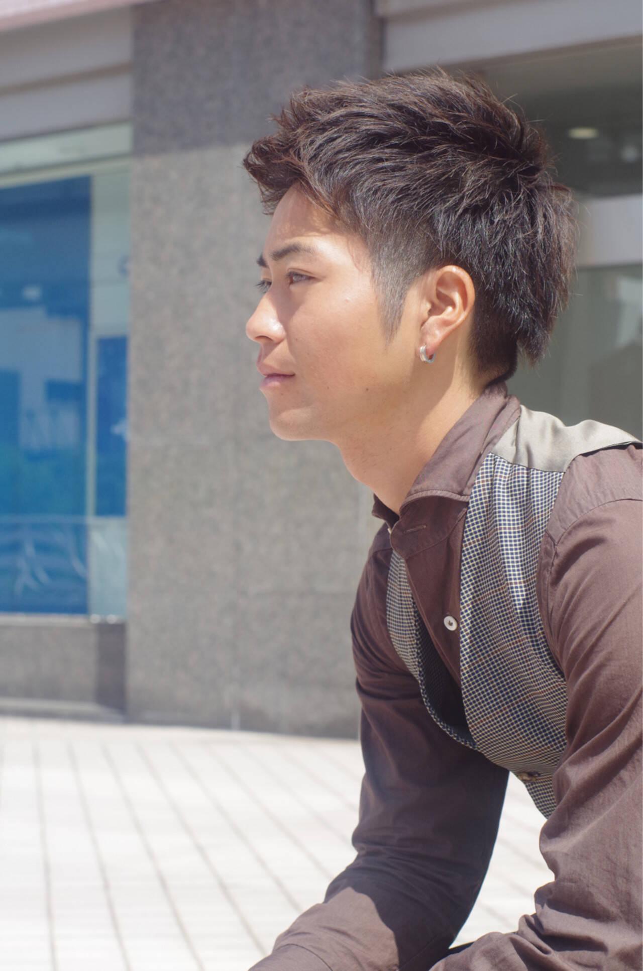メンズ ショート 黒髪 ナチュラルヘアスタイルや髪型の写真・画像