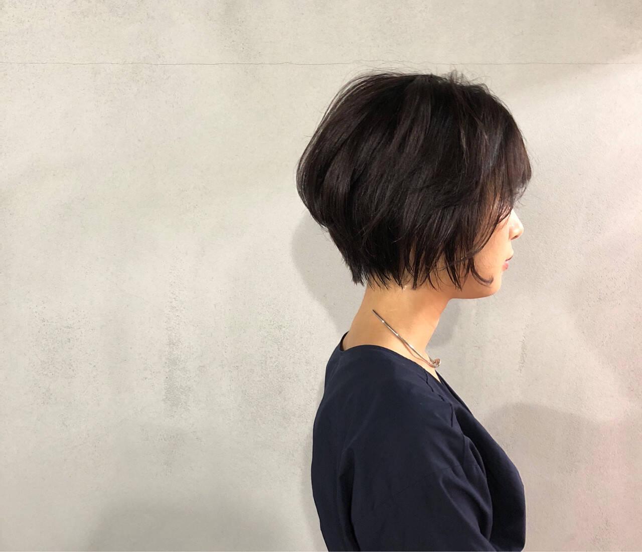 ショート 似合わせ ナチュラル 小顔ヘアスタイルや髪型の写真・画像