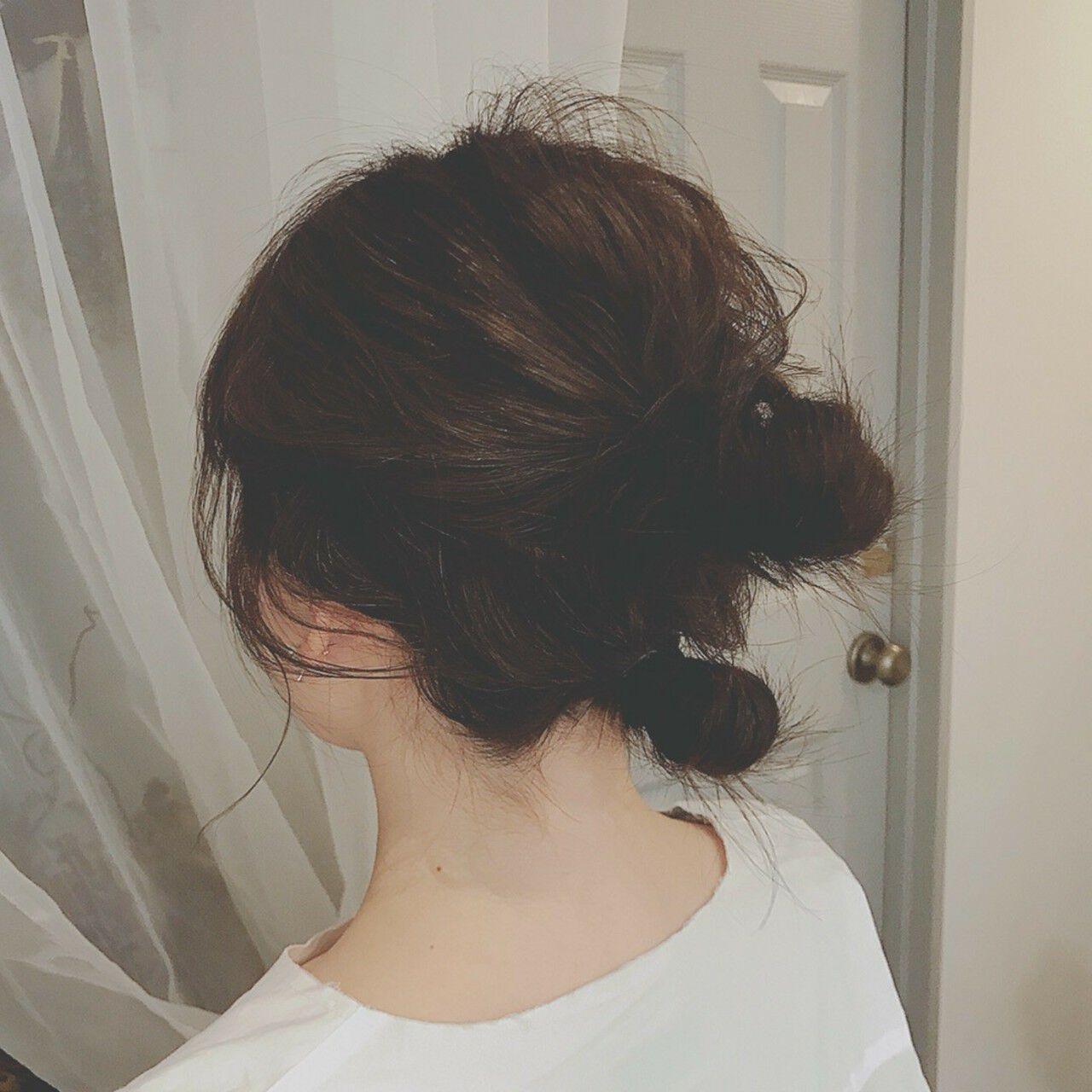 フェミニン ヘアアレンジ セミロング デートヘアスタイルや髪型の写真・画像