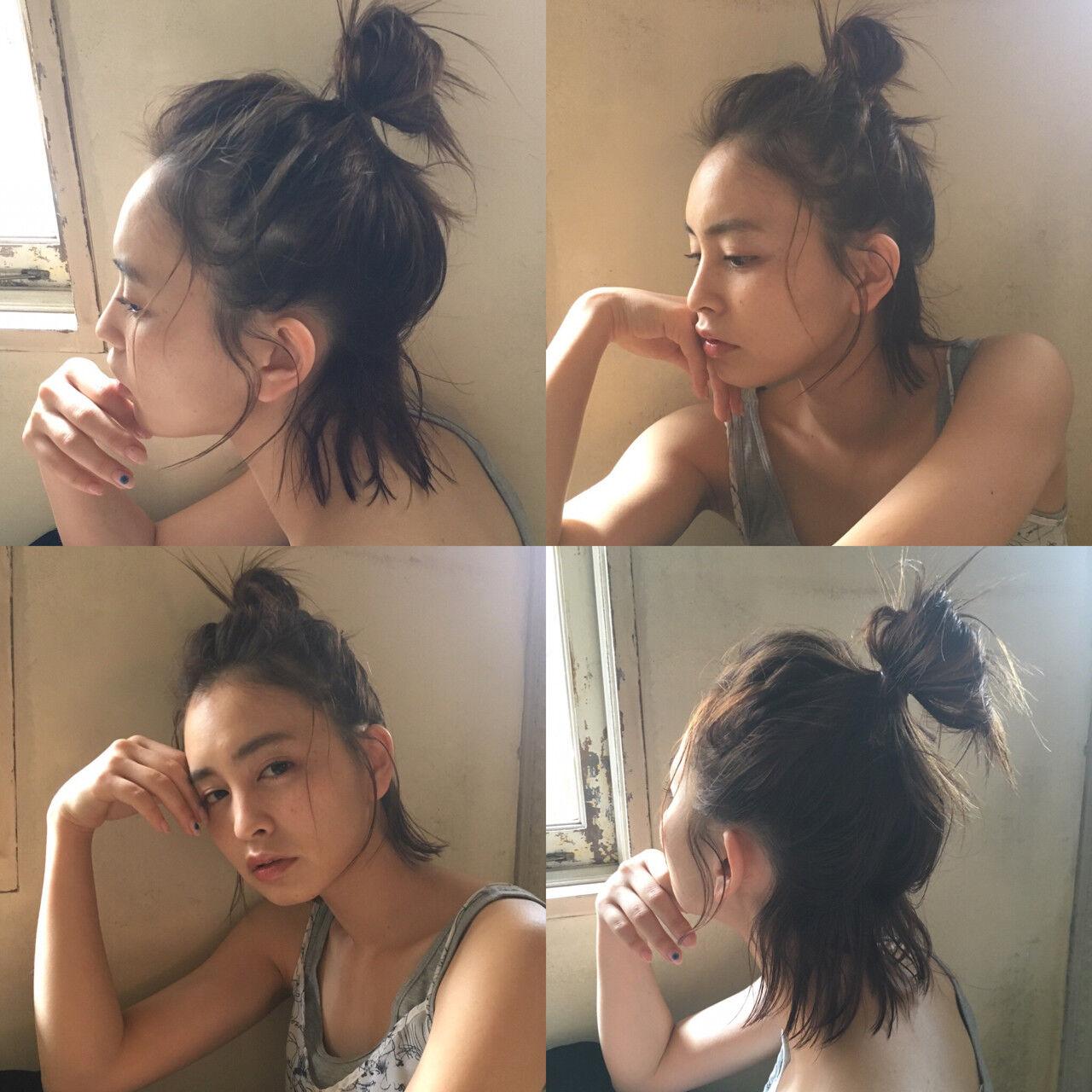 お団子 ハーフアップ ショート 簡単ヘアアレンジヘアスタイルや髪型の写真・画像