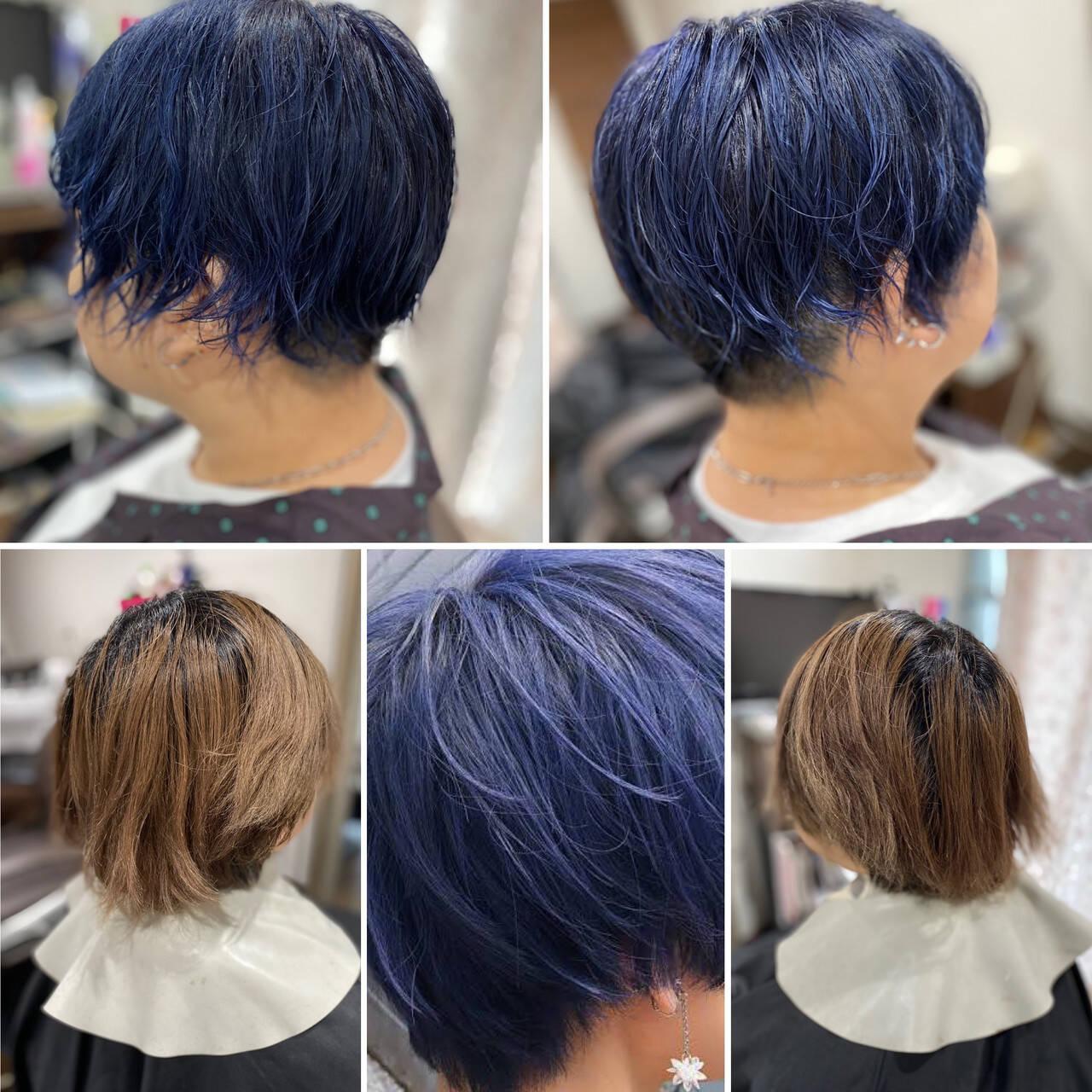 ストリート コリアンネイビー ネイビーアッシュ ショートヘアスタイルや髪型の写真・画像