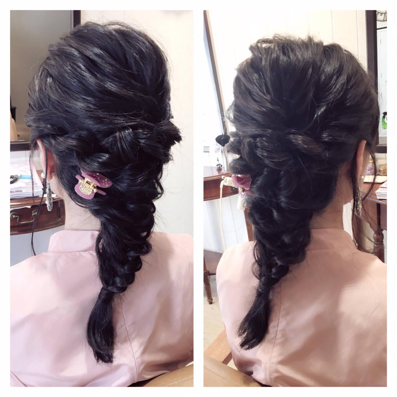 大人女子 ハーフアップ 黒髪 ヘアアレンジヘアスタイルや髪型の写真・画像