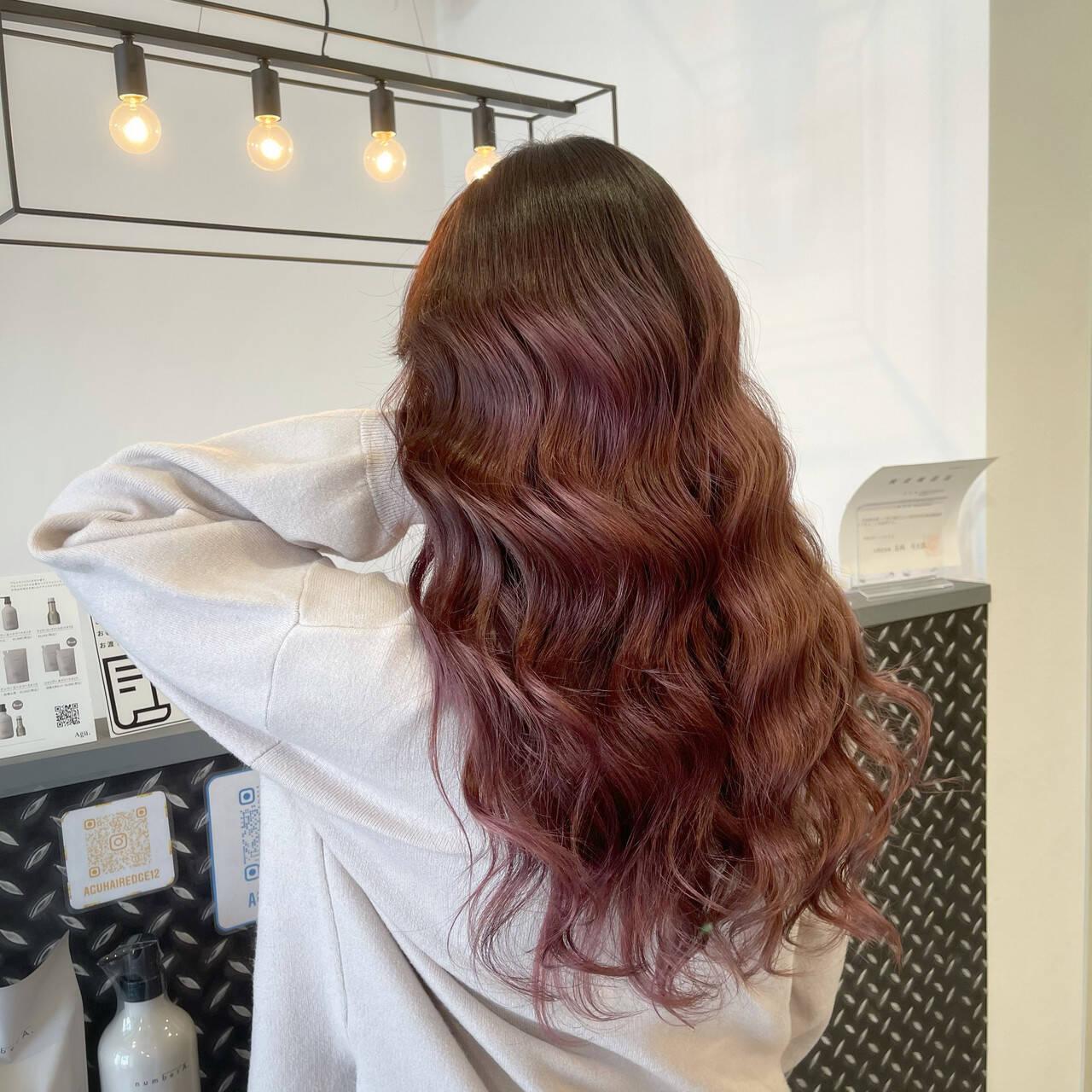 ストリート レッド ロング カシスレッドヘアスタイルや髪型の写真・画像