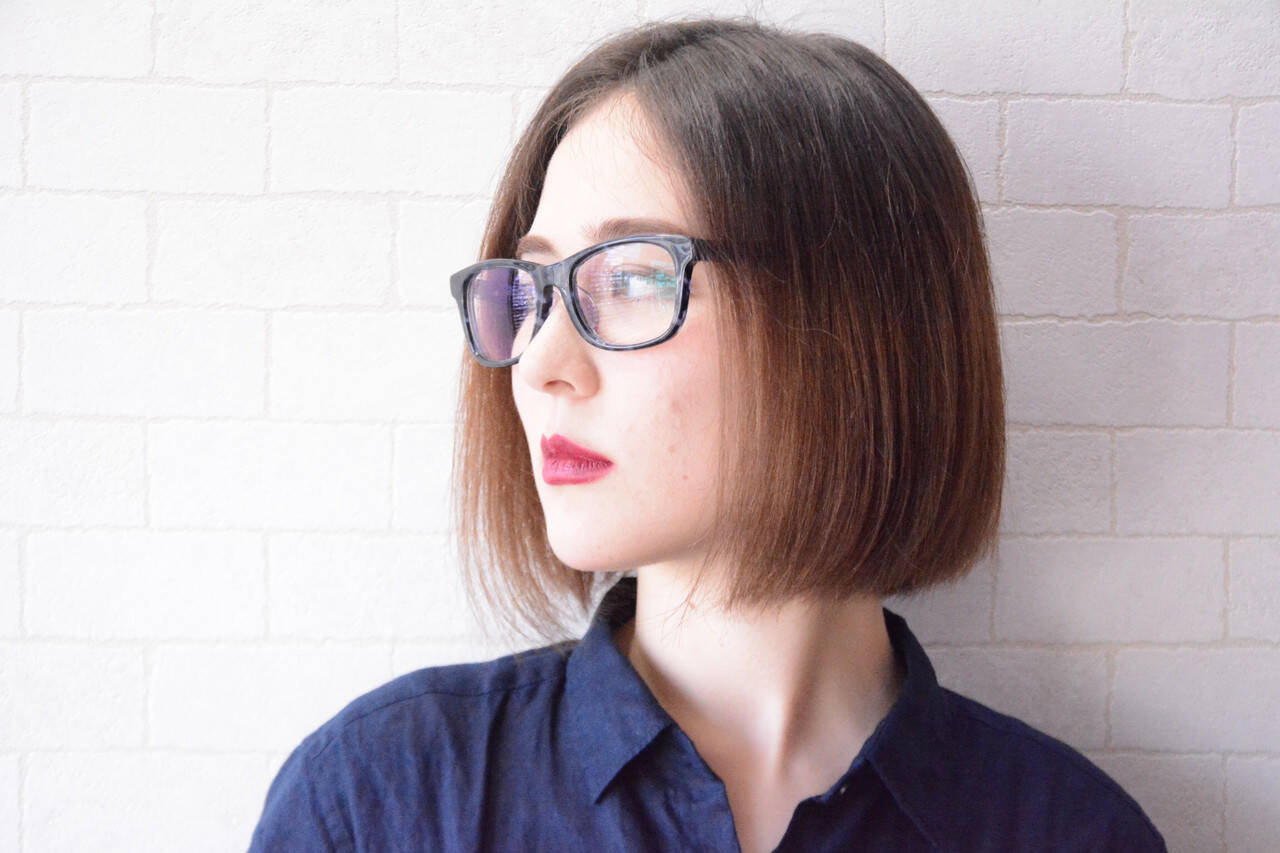 ナチュラル ボブ 美髪 オフィスヘアスタイルや髪型の写真・画像