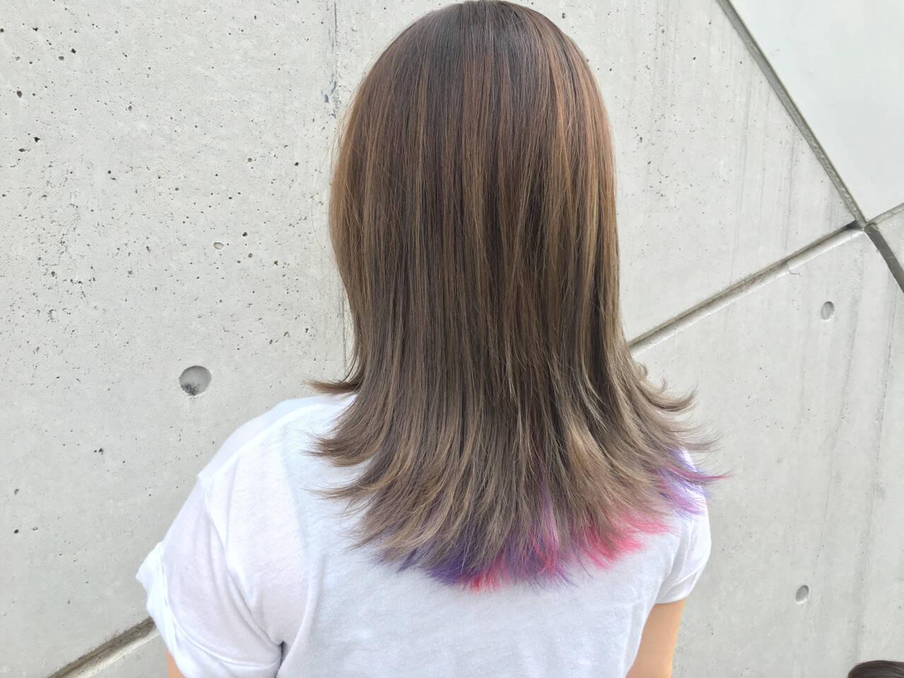 ゆるふわ グラデーションカラー 外国人風 ミディアムヘアスタイルや髪型の写真・画像