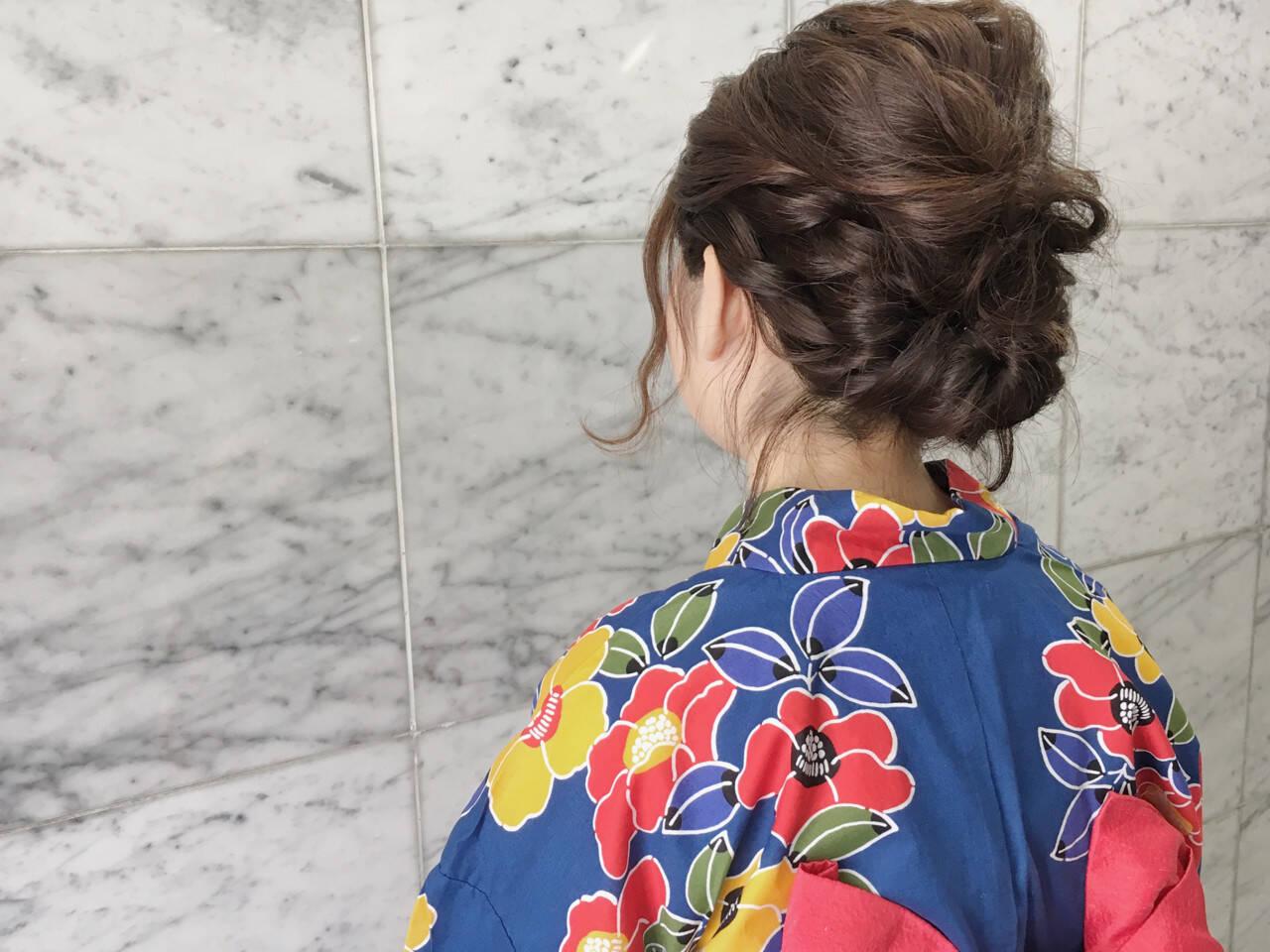 ヘアアレンジ 夏 和装 ナチュラルヘアスタイルや髪型の写真・画像