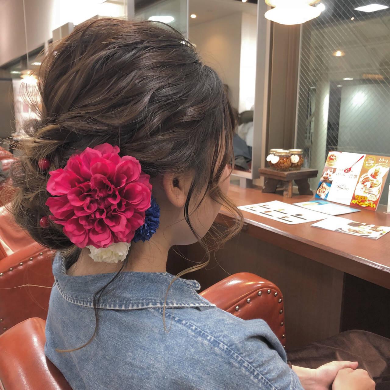 結婚式 フェミニン ロング ヘアアレンジヘアスタイルや髪型の写真・画像