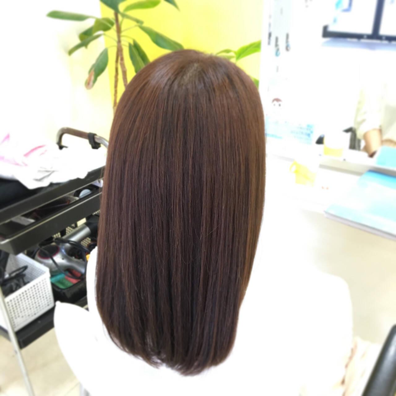 ナチュラル ストレート セミロング 縮毛矯正ヘアスタイルや髪型の写真・画像