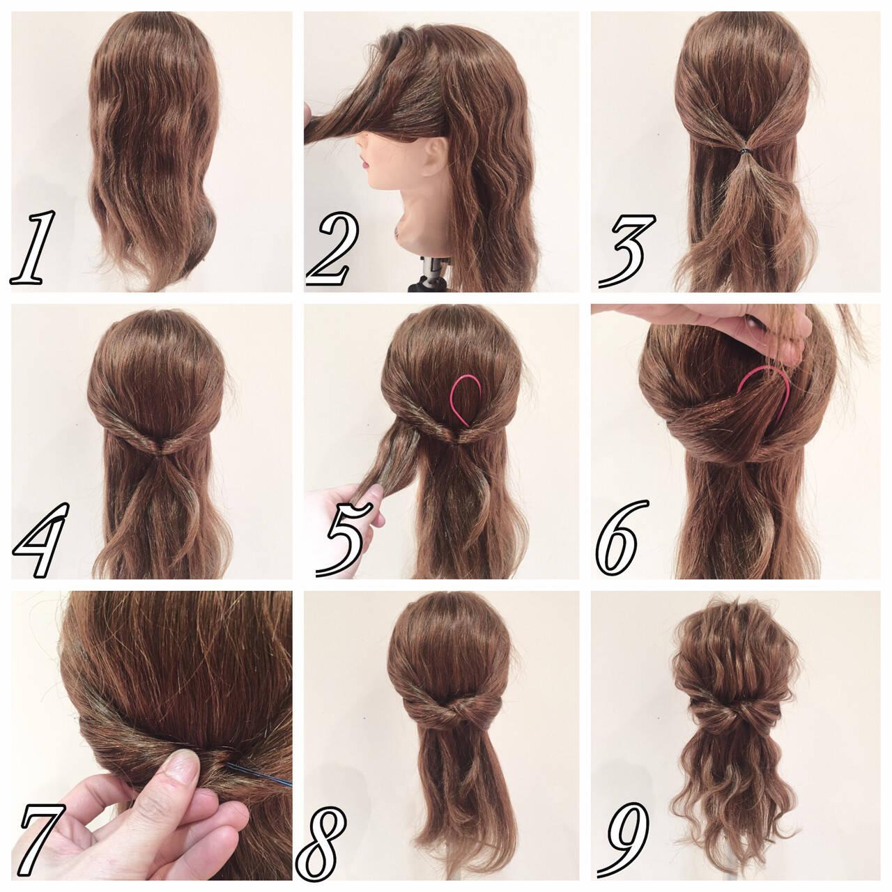 ロング 簡単ヘアアレンジ ハーフアップ ヘアアレンジヘアスタイルや髪型の写真・画像