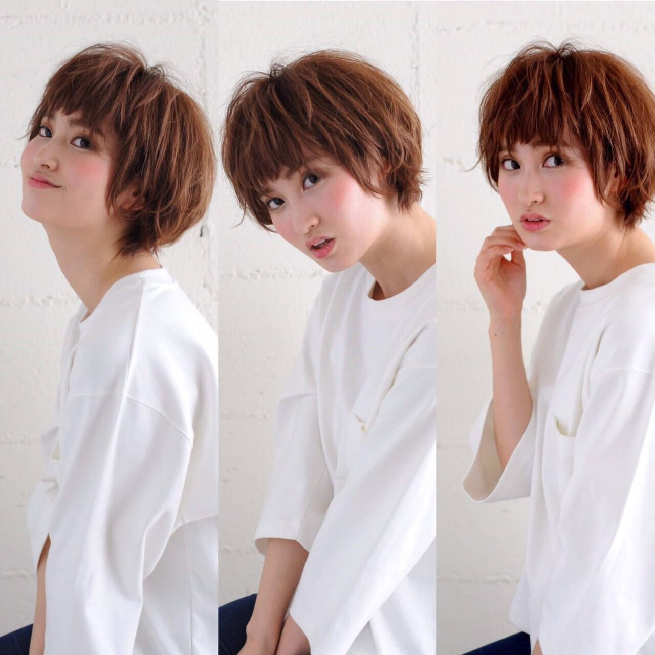外国人風 ショート 外ハネ ゆるふわヘアスタイルや髪型の写真・画像