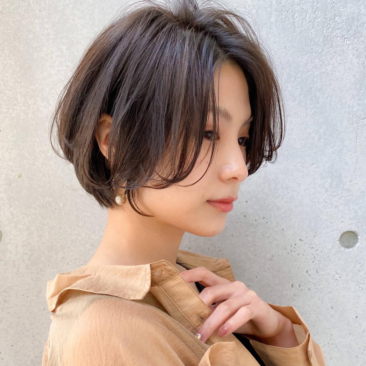 色気 ハンサムショート 大人かわいい ナチュラルヘアスタイルや髪型の写真・画像