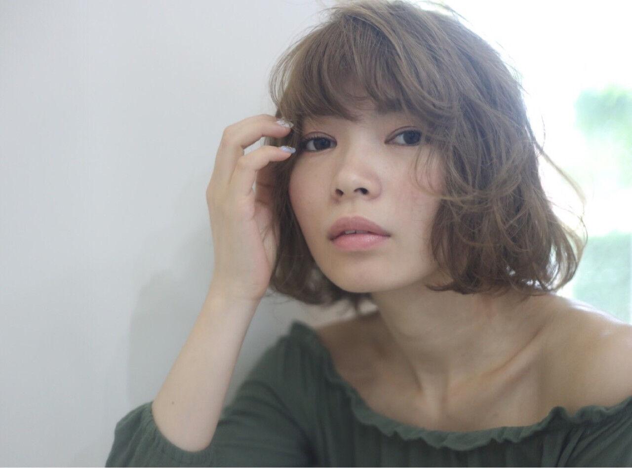 色気 ゆるふわ ハイライト ミディアムヘアスタイルや髪型の写真・画像
