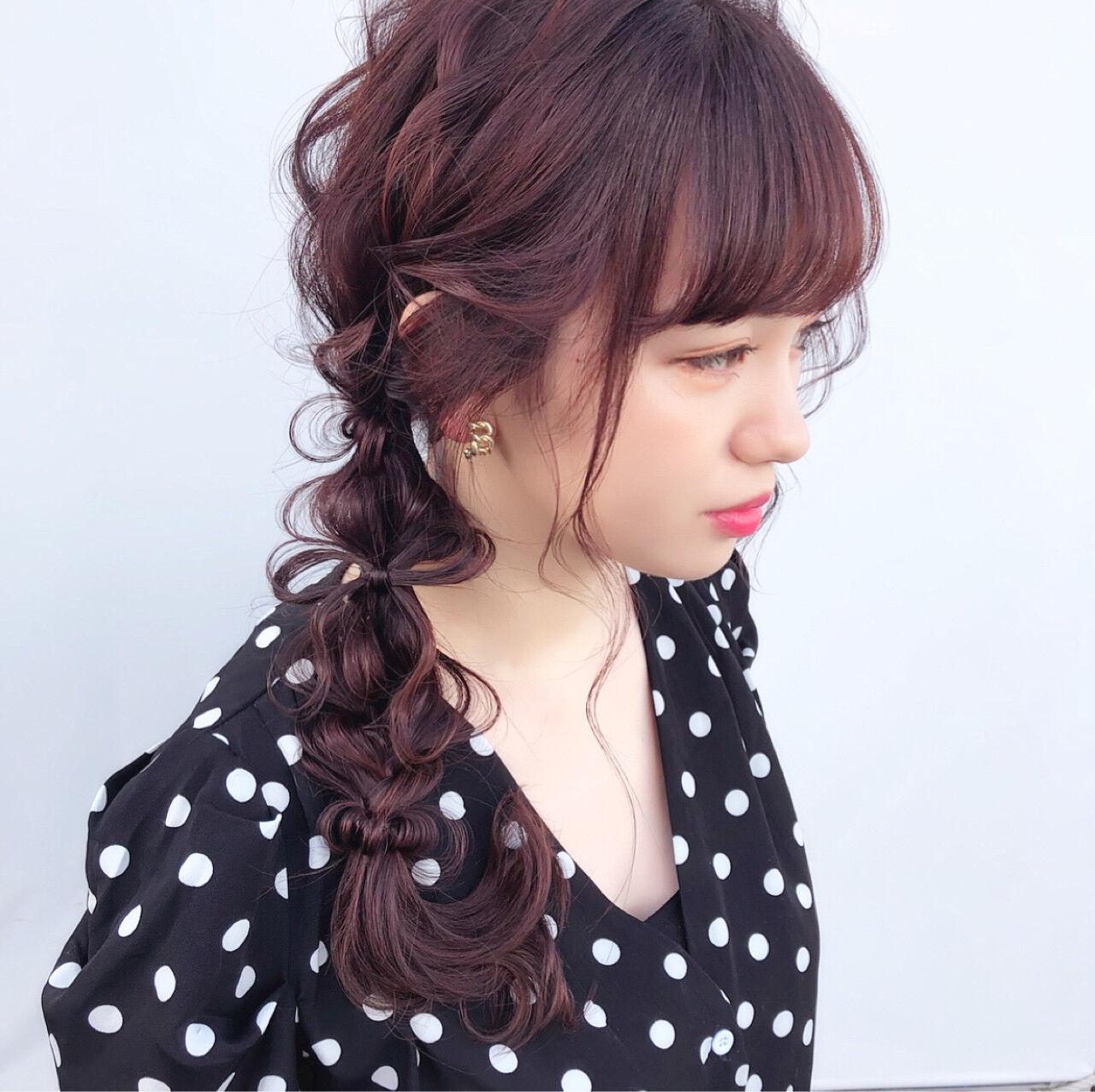 ロング パーティ ガーリー 編み込みヘアスタイルや髪型の写真・画像
