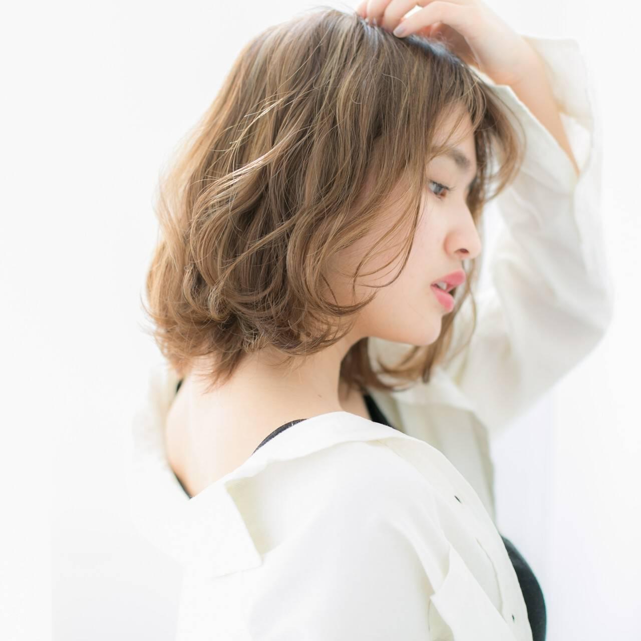 ナチュラル ショート ロブ 前髪ありヘアスタイルや髪型の写真・画像