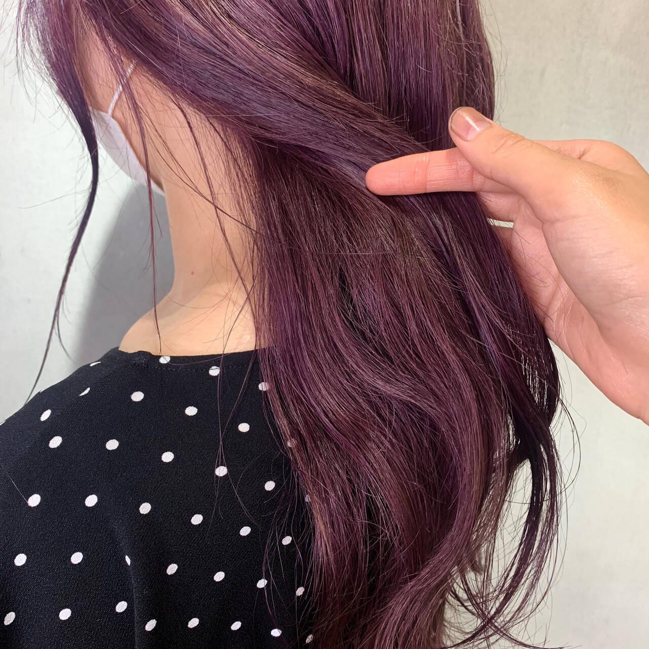 エレガント ピンクブラウン ラズベリーピンク ロングヘアスタイルや髪型の写真・画像