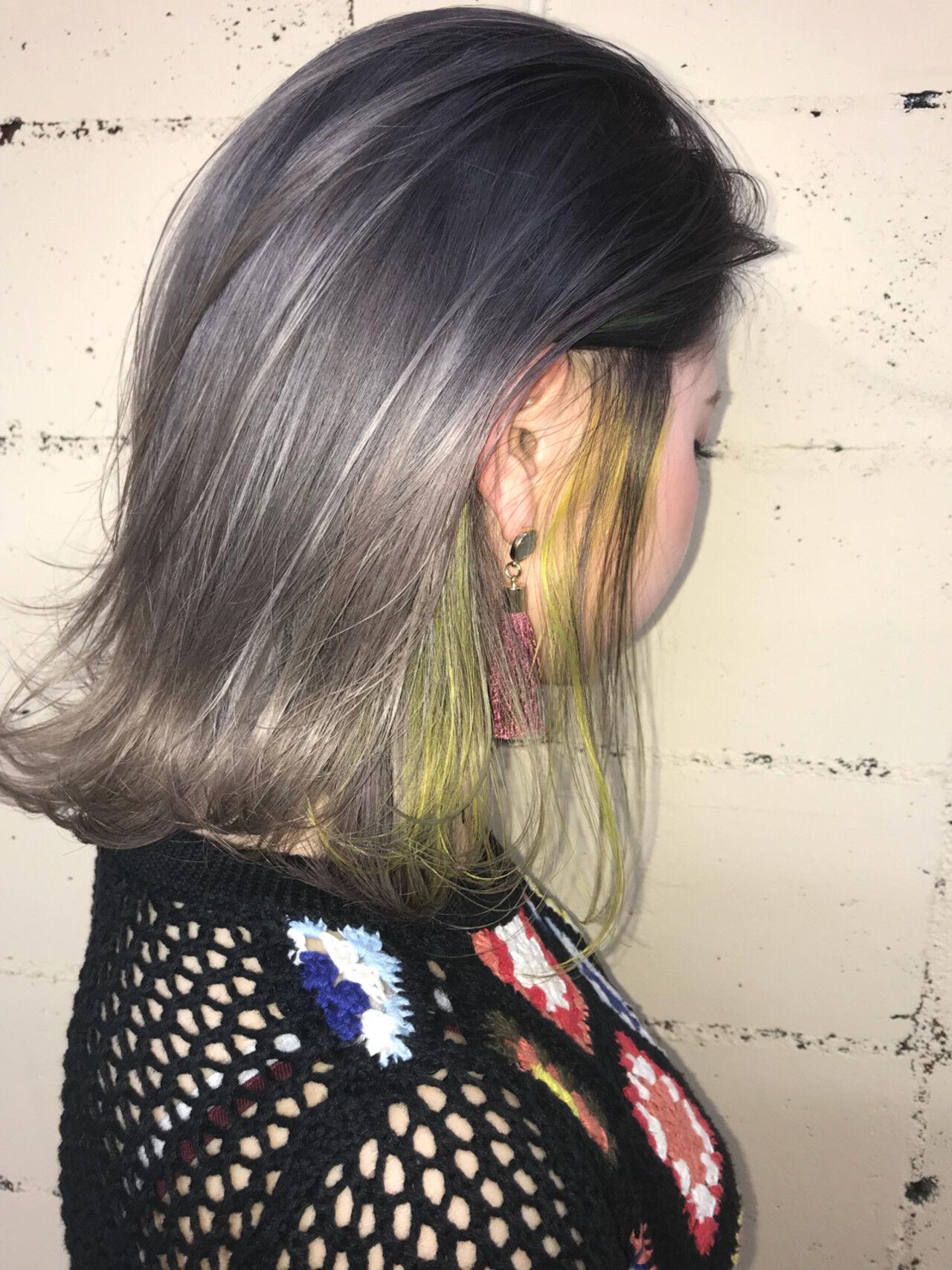ボブ ハイライト ハイトーン 透明感ヘアスタイルや髪型の写真・画像