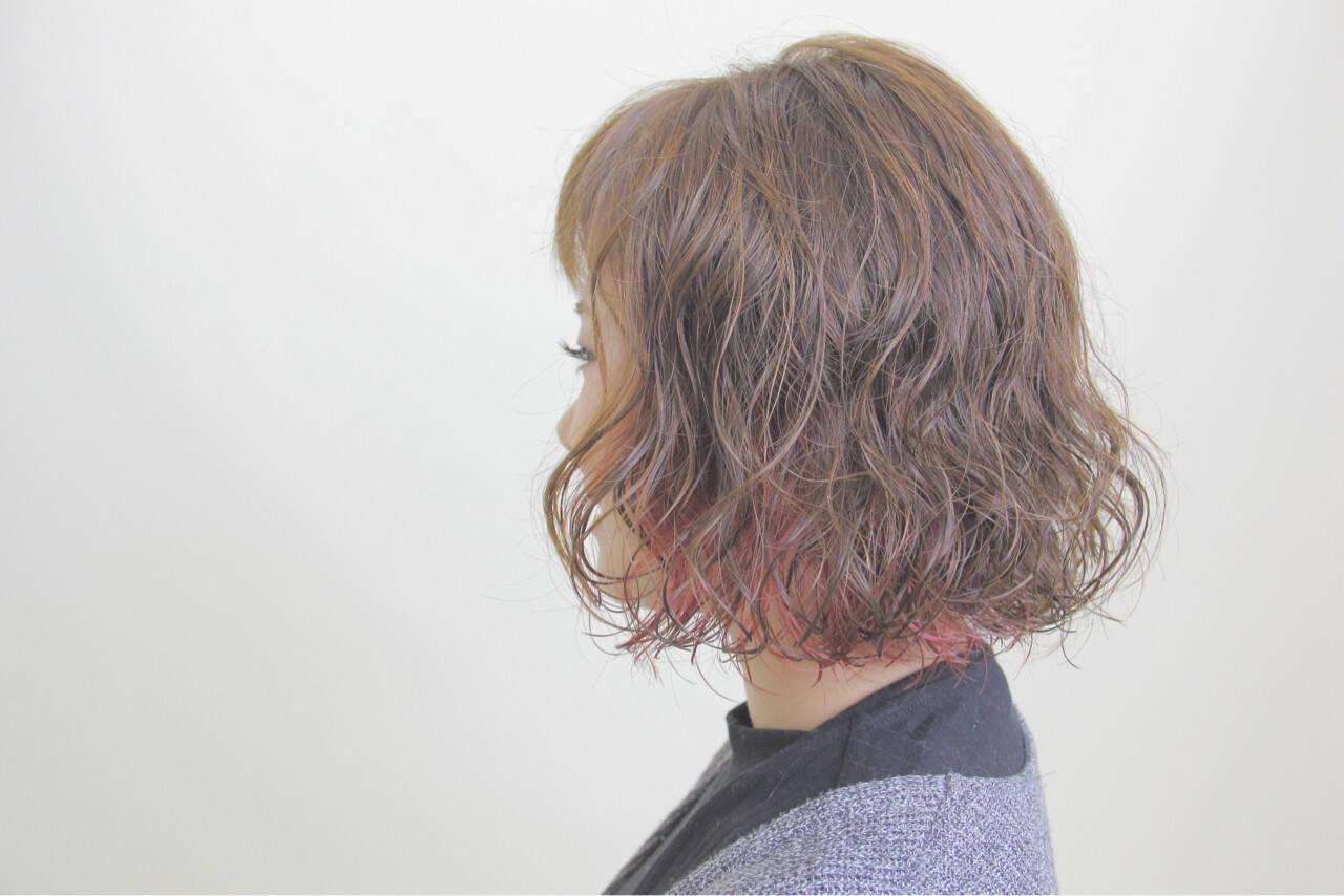 ボブ インナーカラー 秋 ナチュラルヘアスタイルや髪型の写真・画像