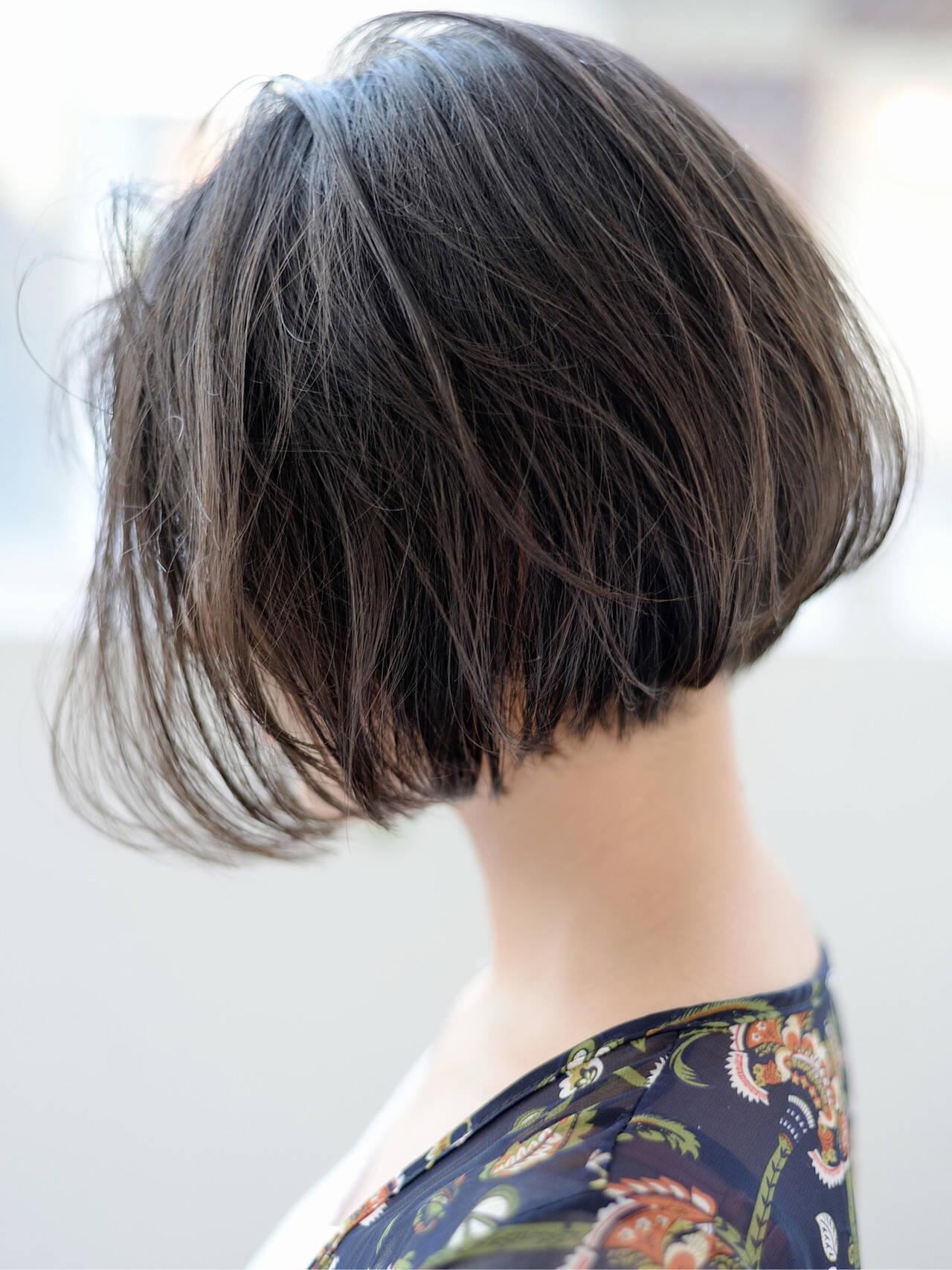 切りっぱなしボブ ショートボブ ワンレングス ショートヘアスタイルや髪型の写真・画像