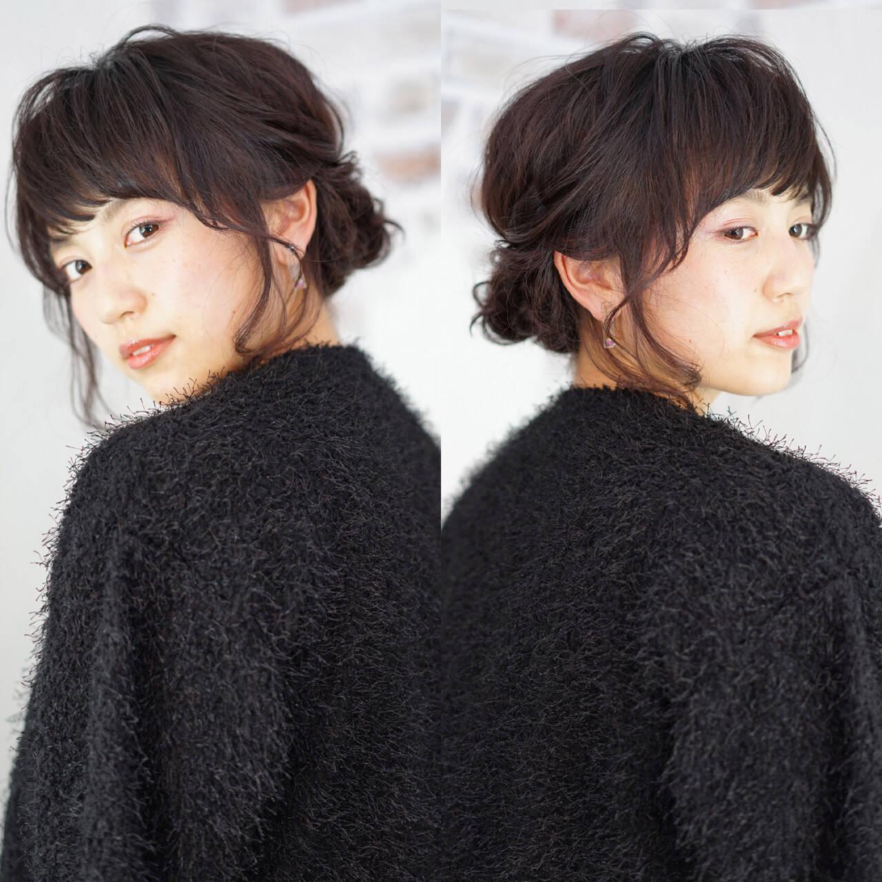 アッシュ ショート ミディアム 簡単ヘアアレンジヘアスタイルや髪型の写真・画像