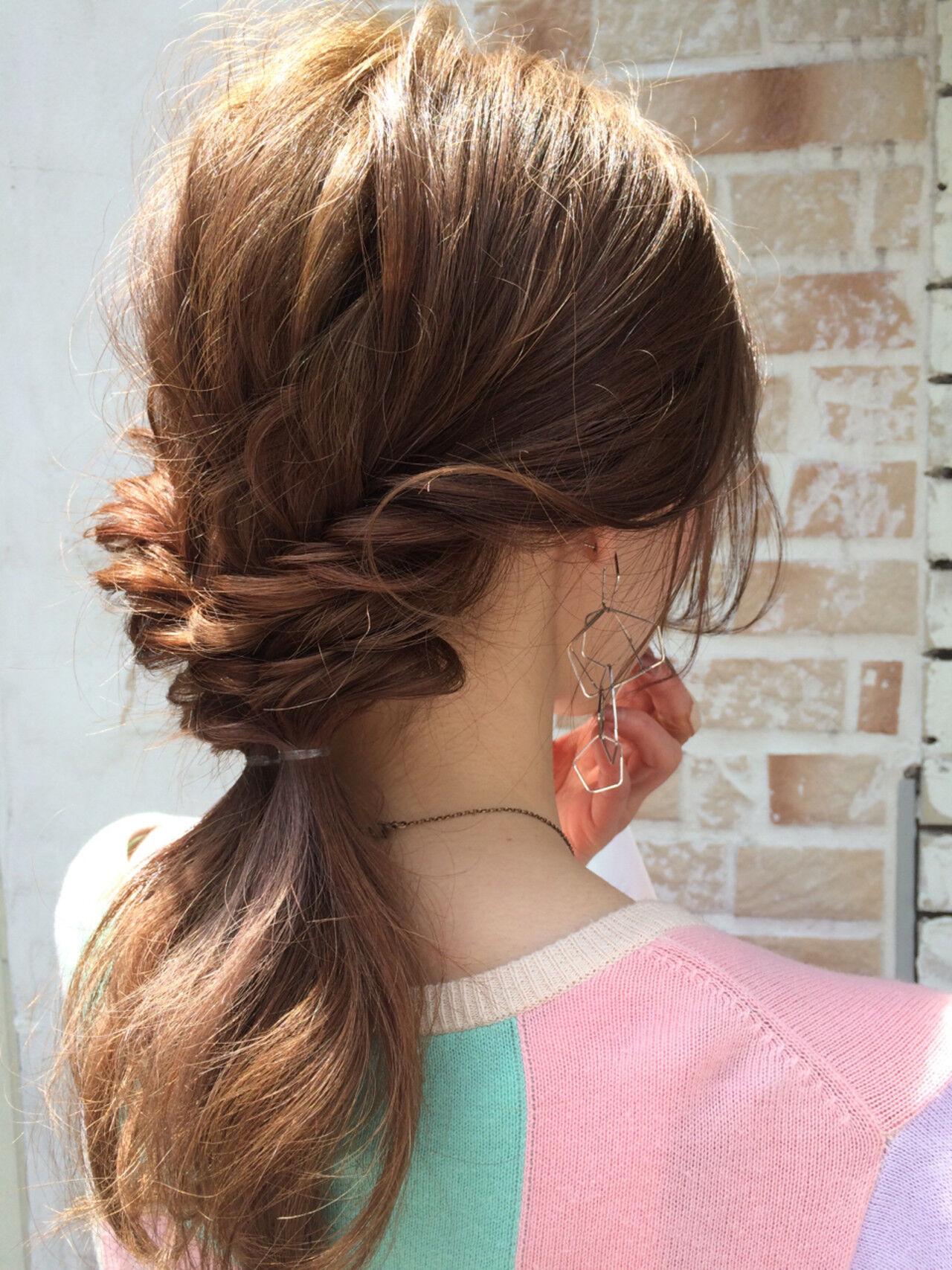 ショート パーマ ハーフアップ ミディアムヘアスタイルや髪型の写真・画像