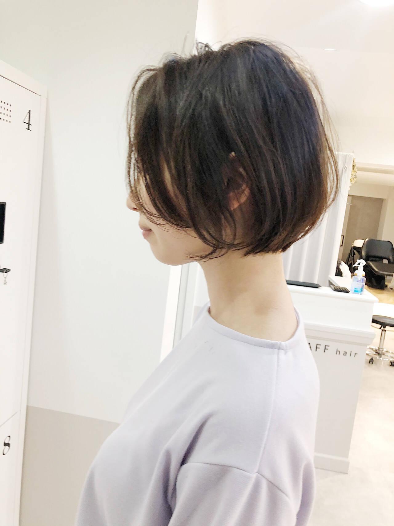 縮毛矯正 ボブ ショートボブ ナチュラルヘアスタイルや髪型の写真・画像