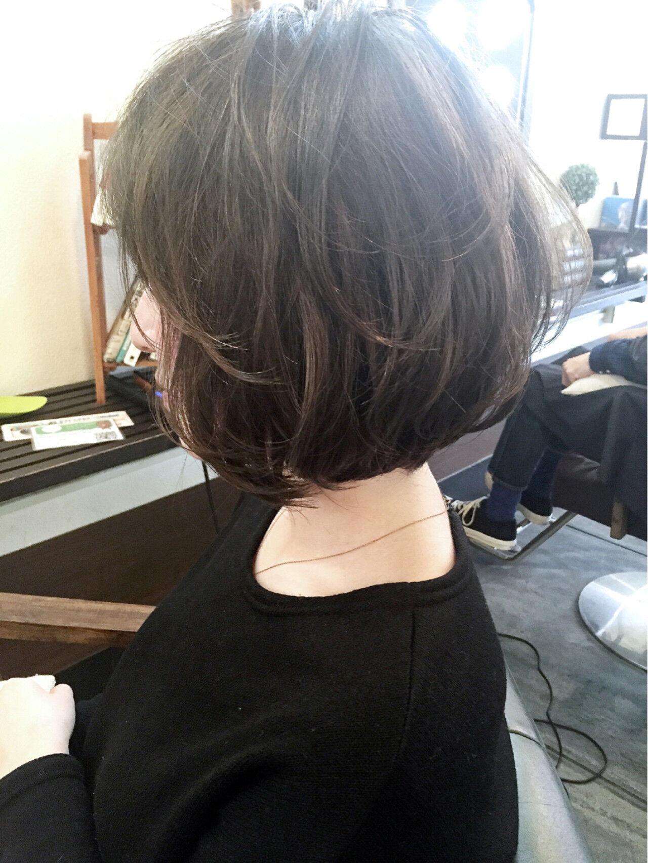 暗髪 前下がり ボブ ワンカールヘアスタイルや髪型の写真・画像