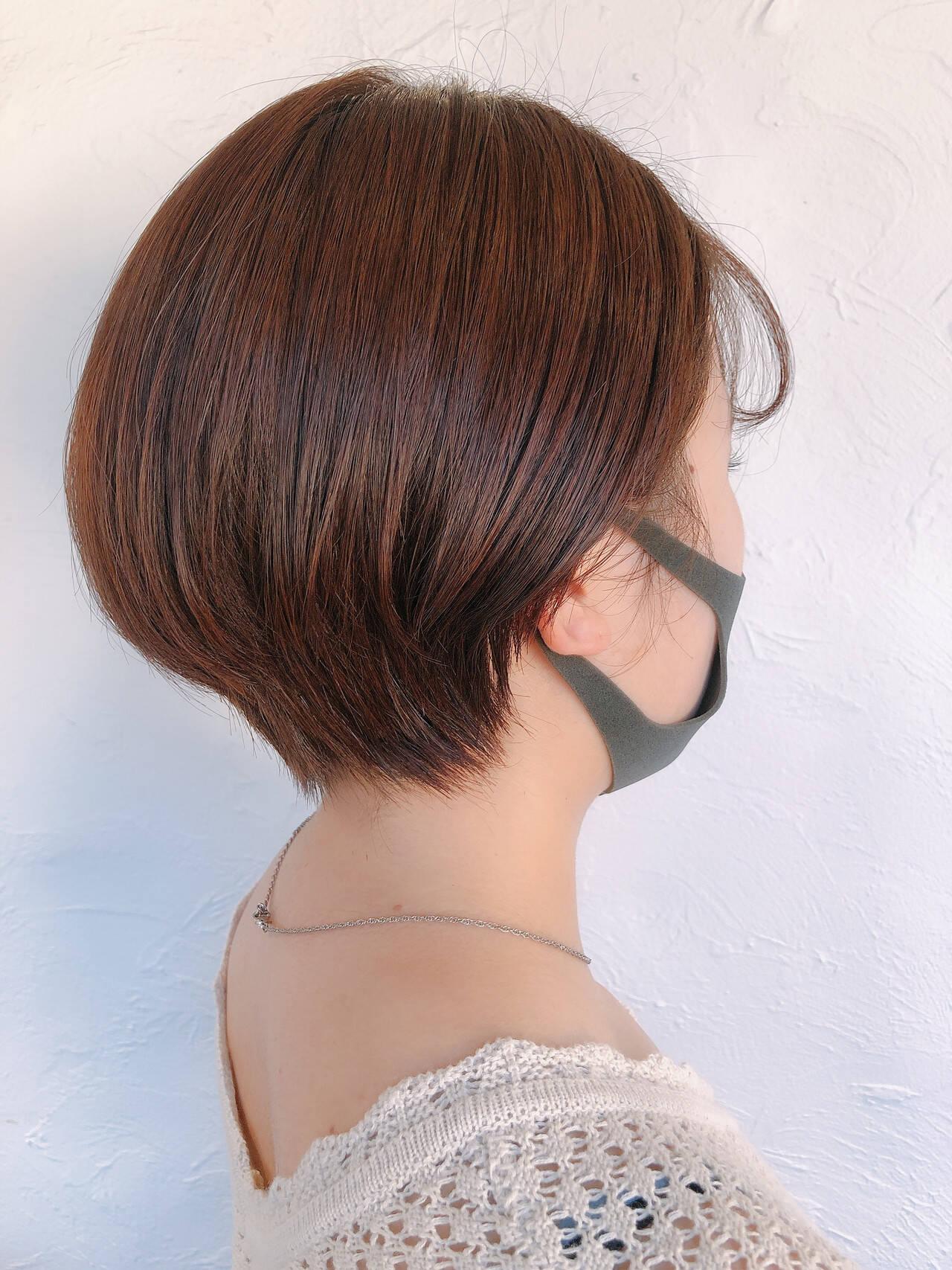 アプリコットオレンジ ショートヘア ミニボブ ショートヘアスタイルや髪型の写真・画像