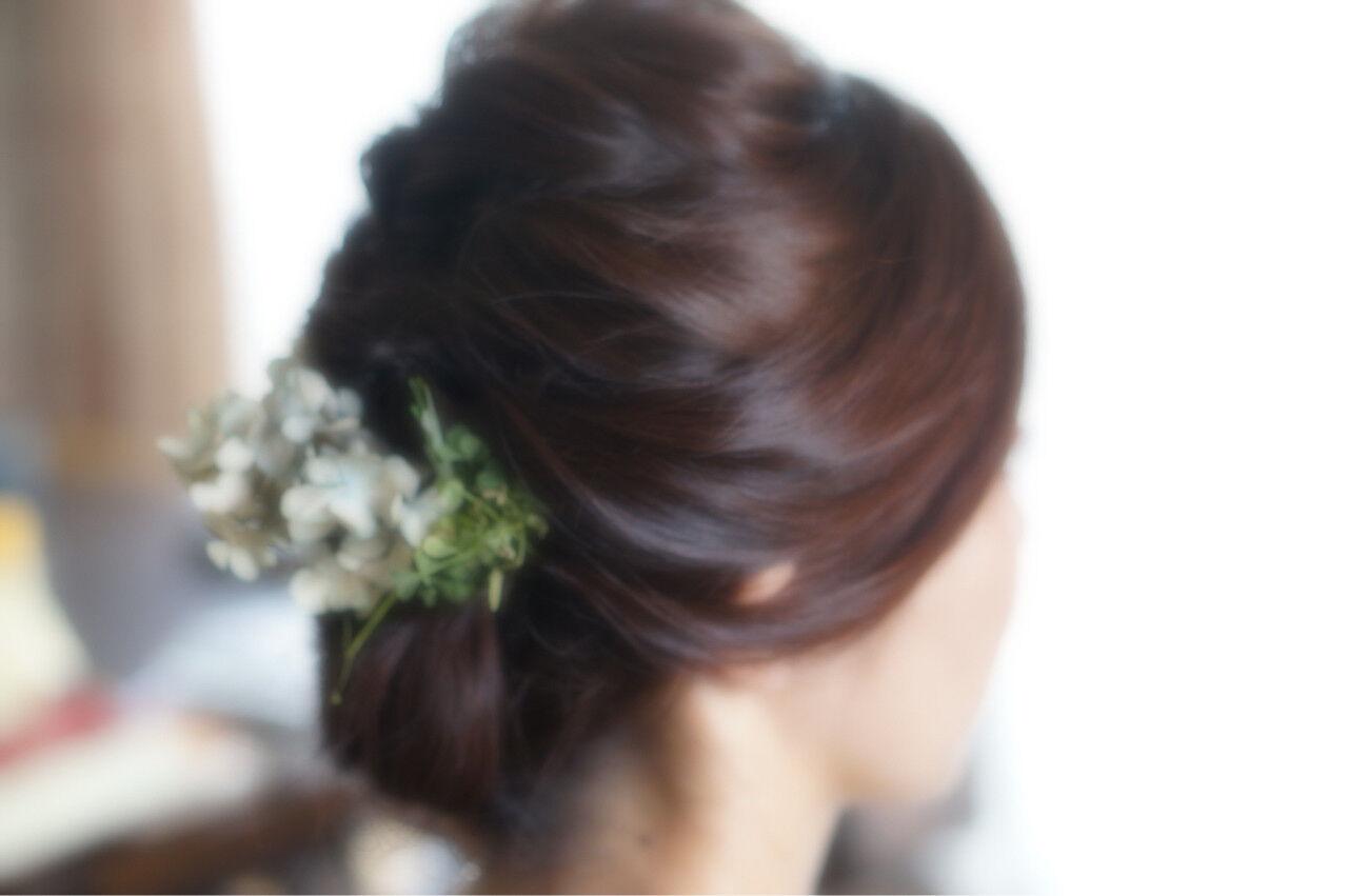 花嫁 花 ロング 編み込みヘアスタイルや髪型の写真・画像