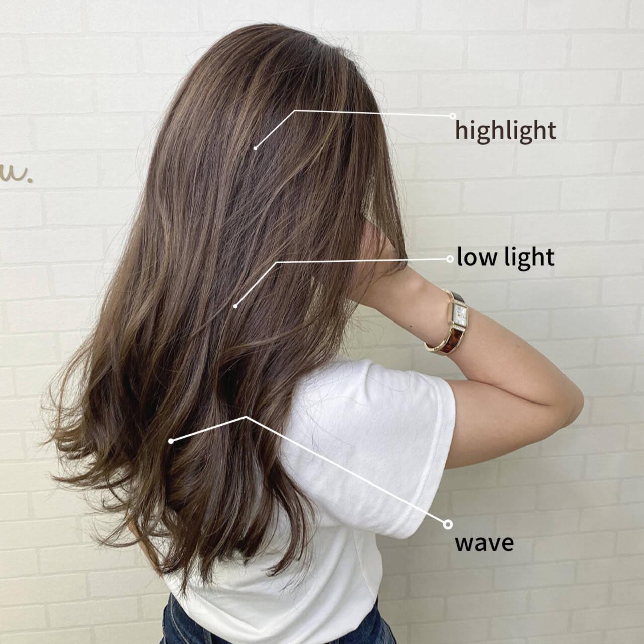透明感カラー バレイヤージュ ミルクティーベージュ ロングヘアスタイルや髪型の写真・画像