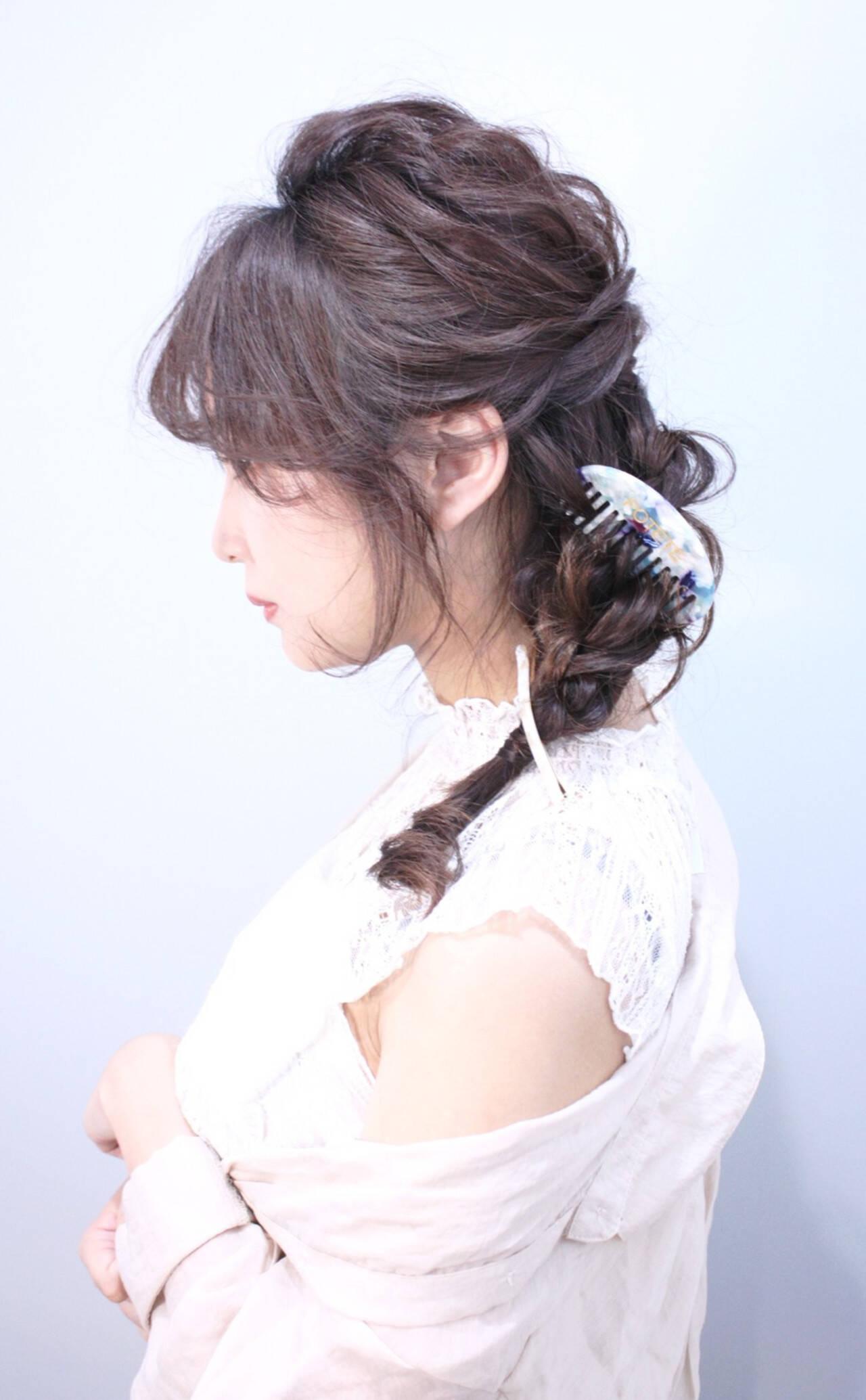 編みおろしヘア 結婚式ヘアアレンジ ヘアアレンジ ロングヘアスタイルや髪型の写真・画像