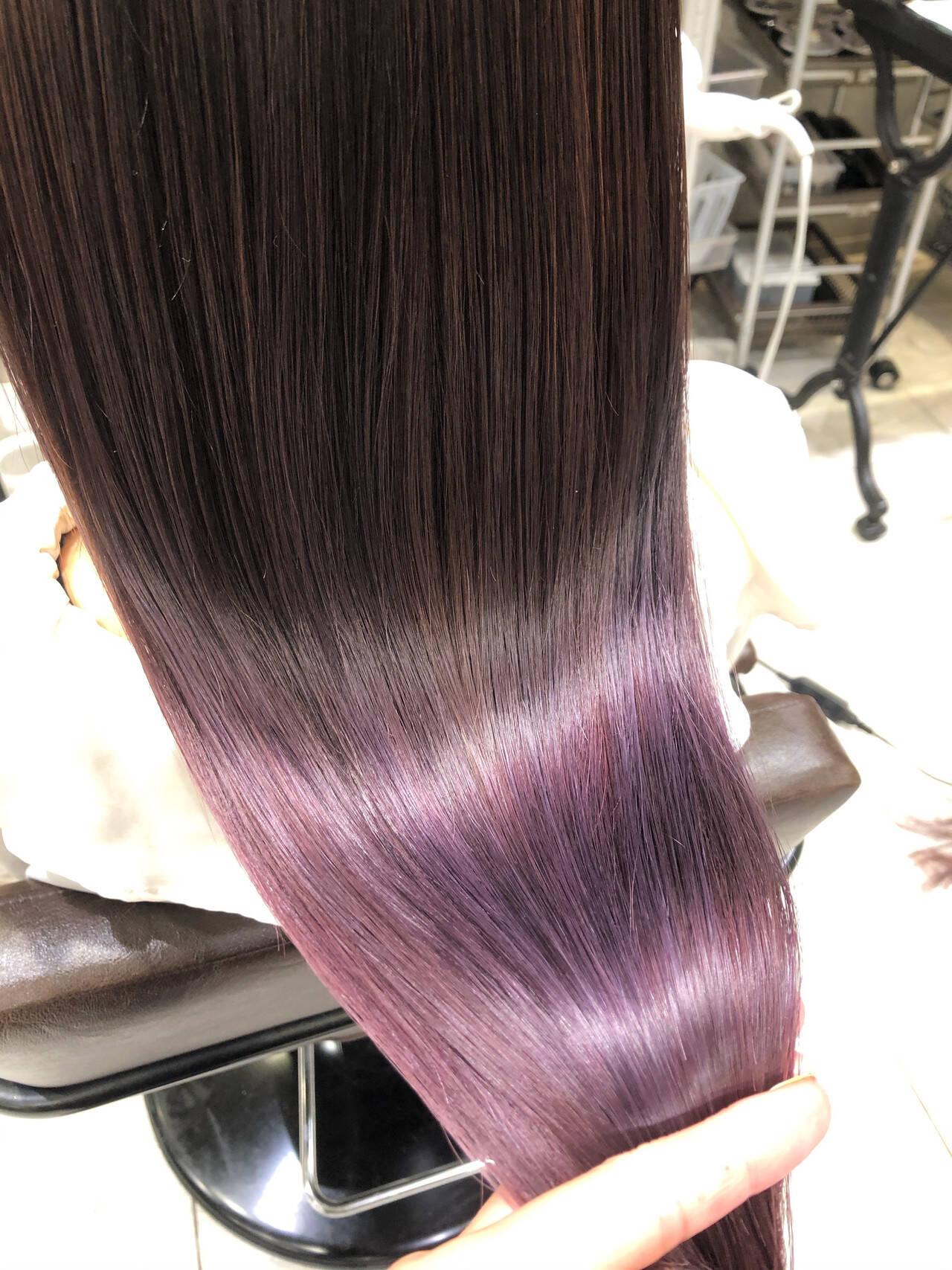 パープル ロング ラベンダー ラベンダーピンクヘアスタイルや髪型の写真・画像