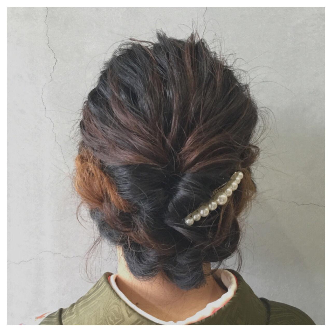 セミロング ゆるふわ 着物 ナチュラルヘアスタイルや髪型の写真・画像