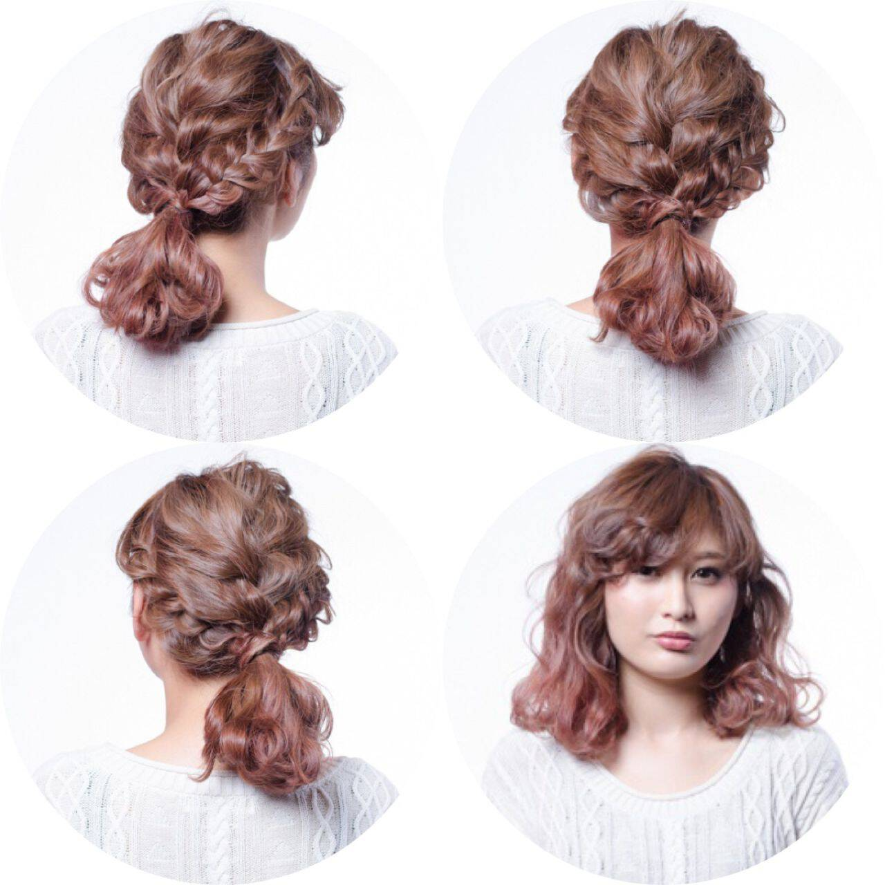 簡単ヘアアレンジ ウェーブ ショート 編み込みヘアスタイルや髪型の写真・画像