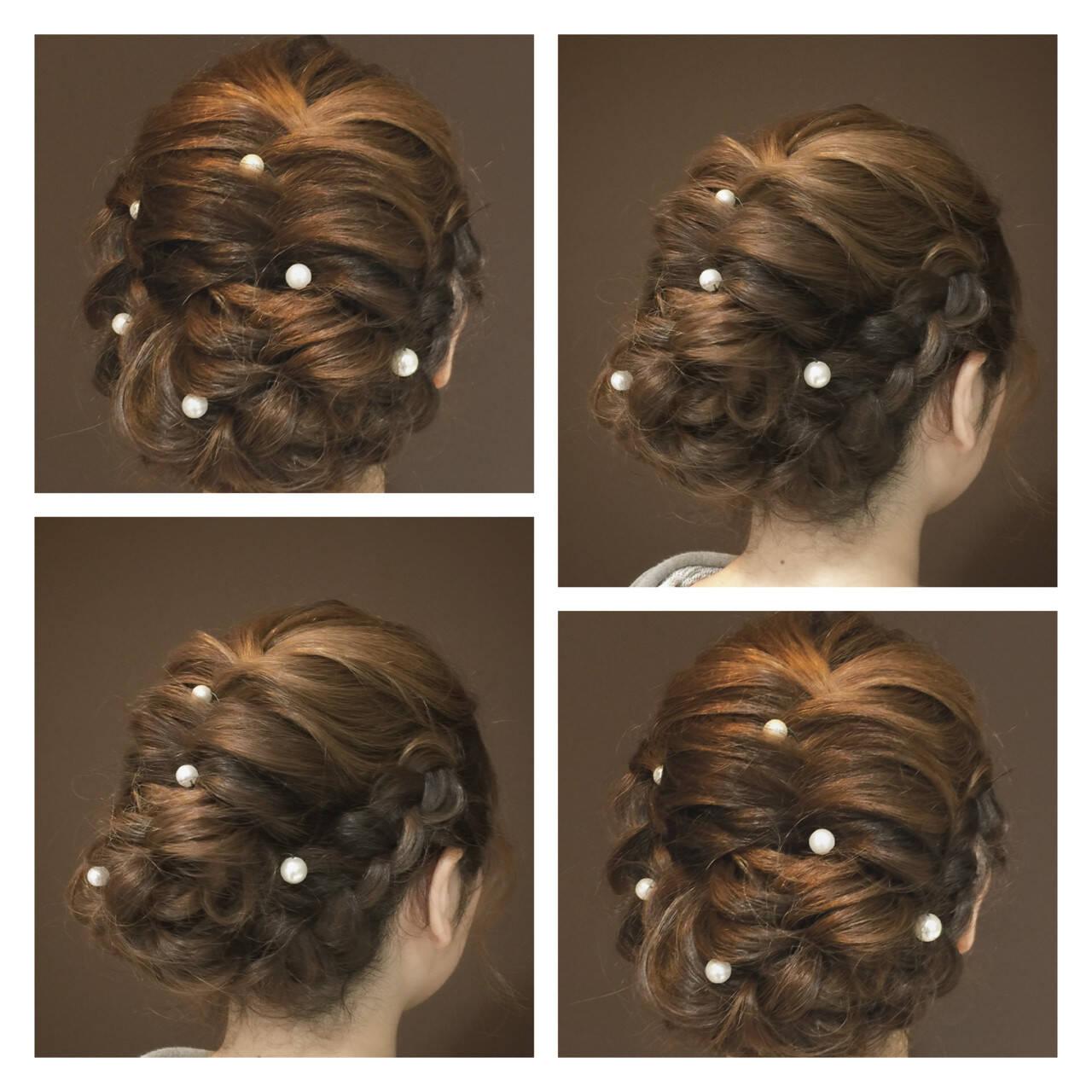 フェミニン ヘアアレンジ 結婚式 セミロングヘアスタイルや髪型の写真・画像