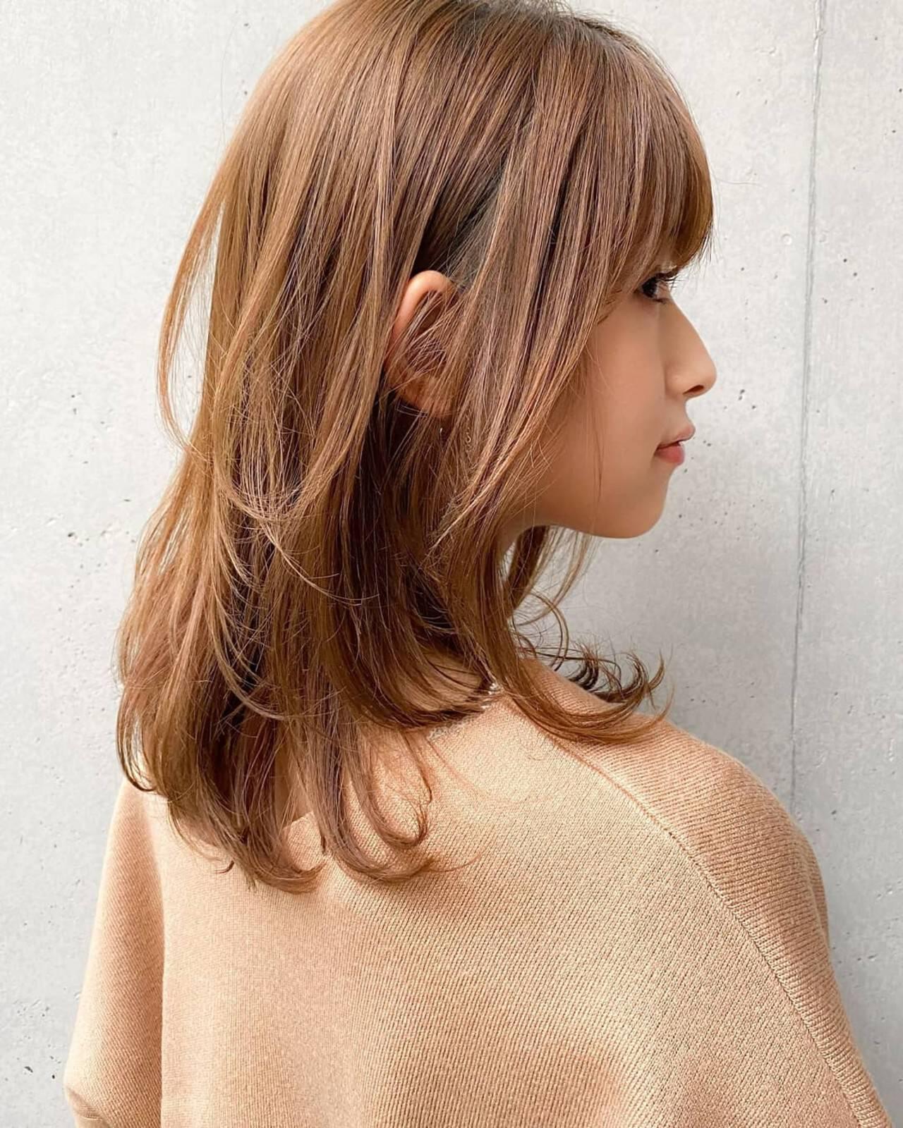 シースルーバング 外ハネ ハイライト 大人かわいいヘアスタイルや髪型の写真・画像