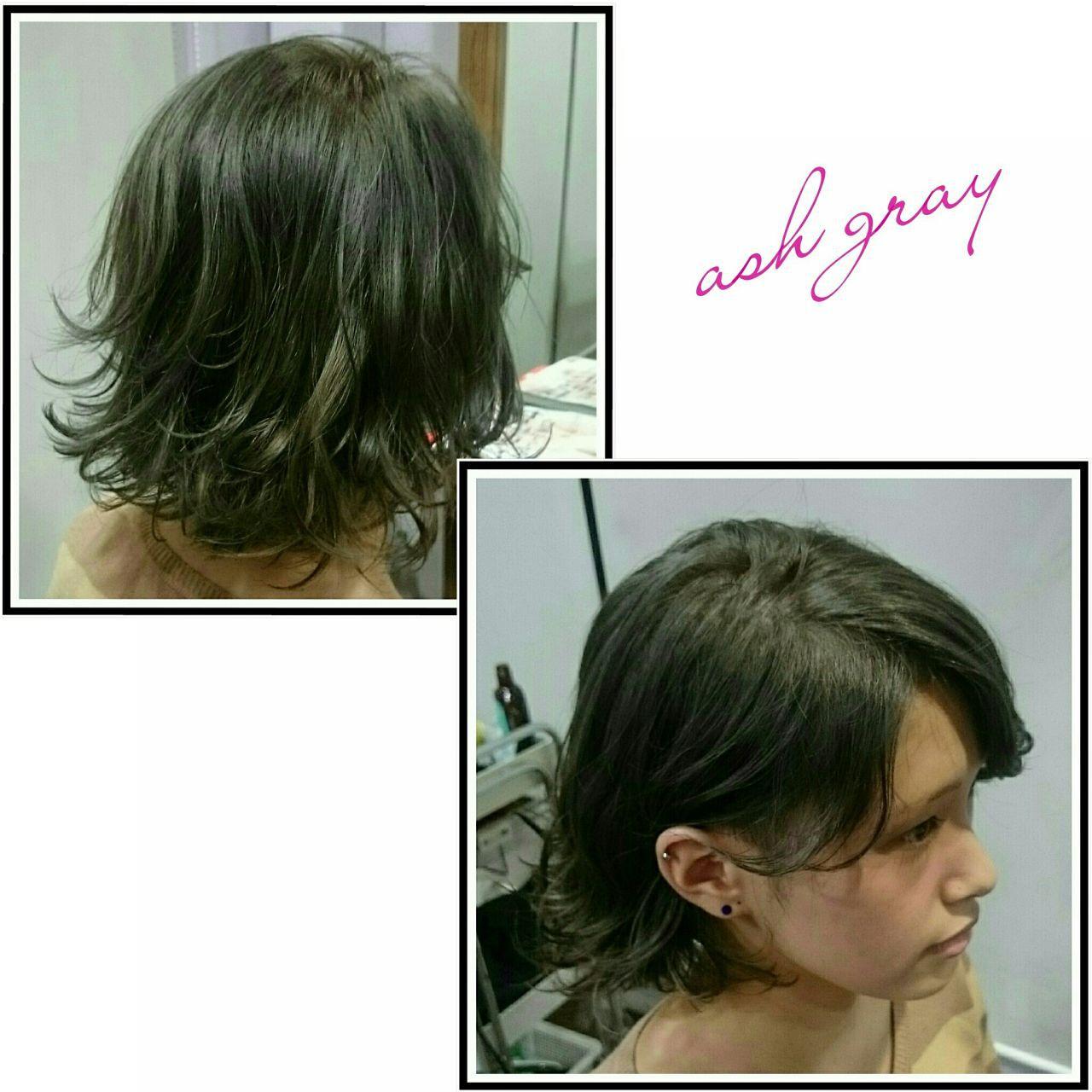 アッシュ グレージュ ハイトーン 黒髪ヘアスタイルや髪型の写真・画像