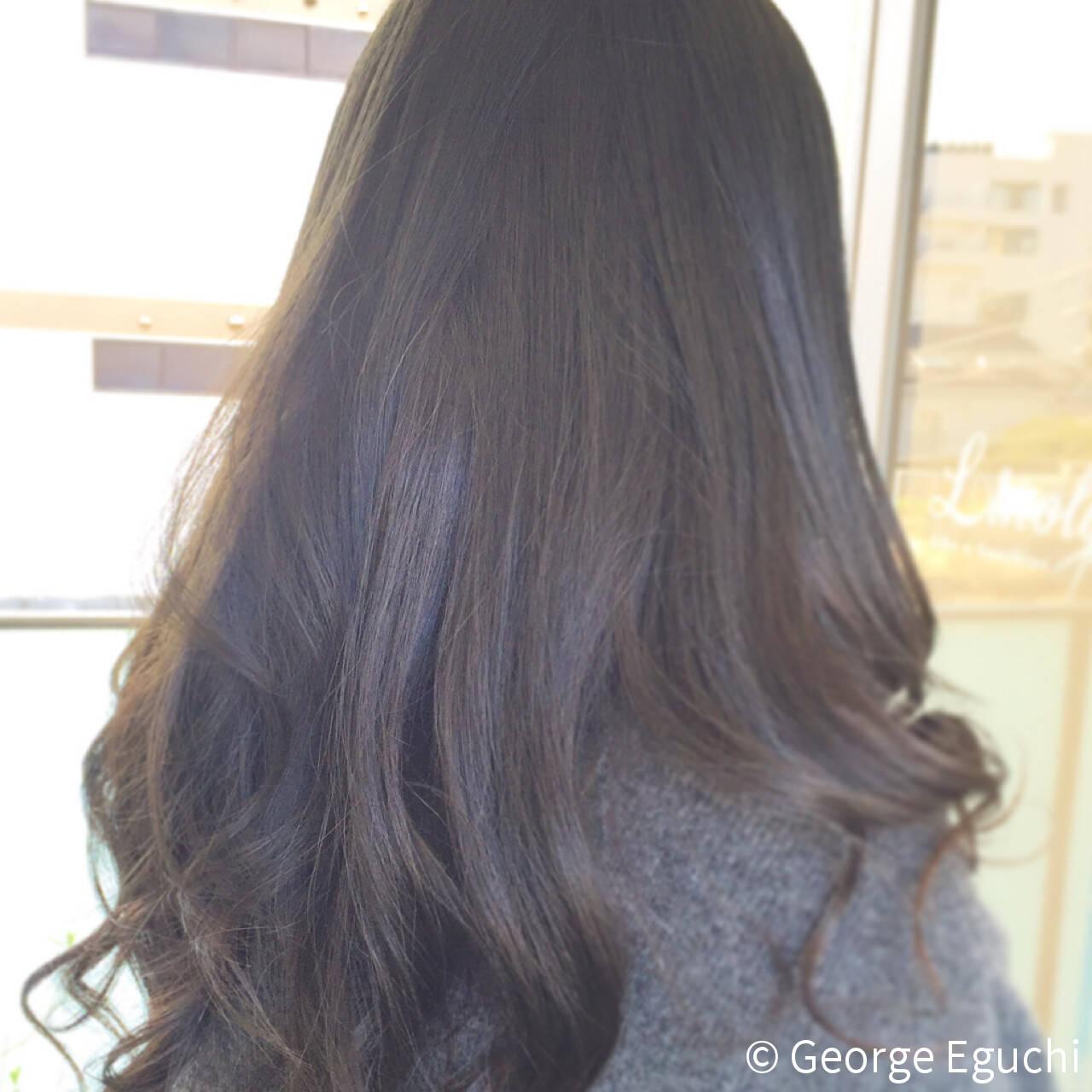 ゆるふわ ナチュラル 黒髪 ロングヘアスタイルや髪型の写真・画像