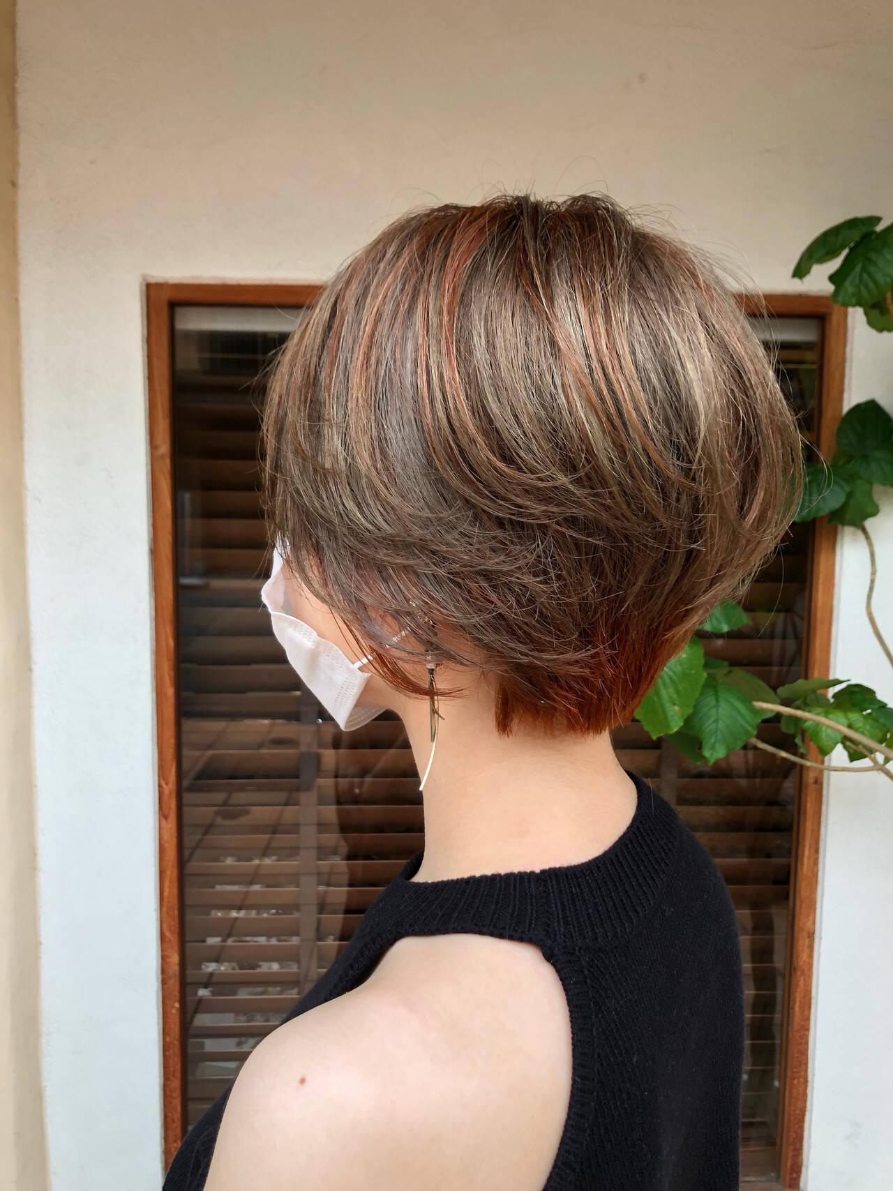 ショート ショートボブ ハイライト ショートヘアヘアスタイルや髪型の写真・画像