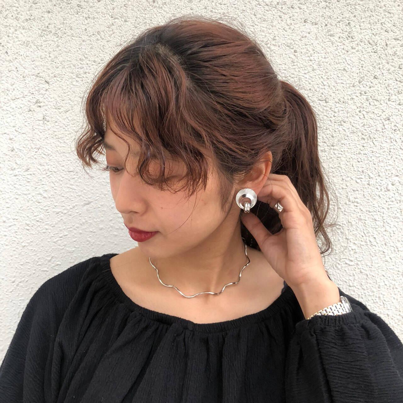 ミディアム ヘアアレンジ アプリコットオレンジ ナチュラルヘアスタイルや髪型の写真・画像