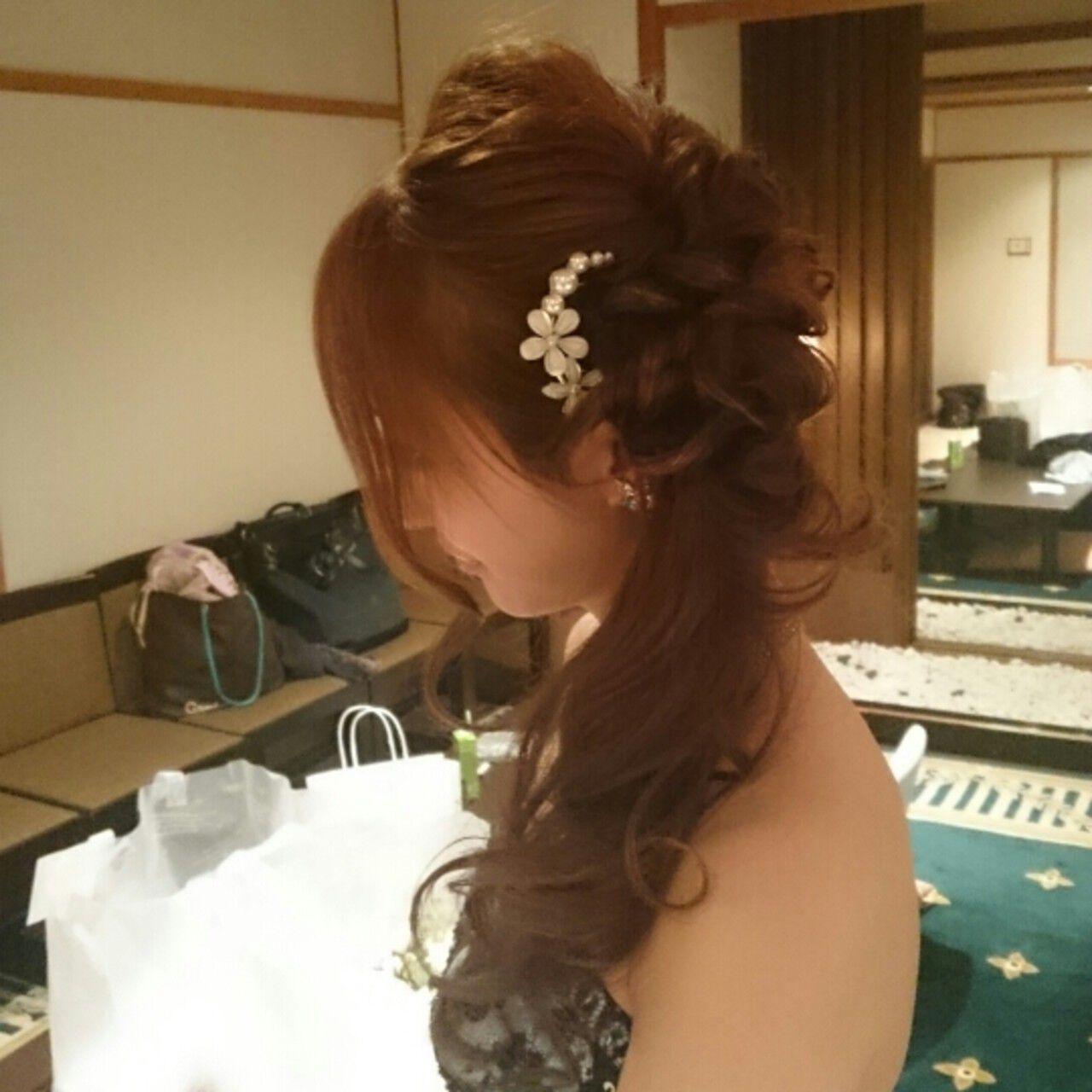 ブライダル 大人かわいい 結婚式 ハーフアップヘアスタイルや髪型の写真・画像