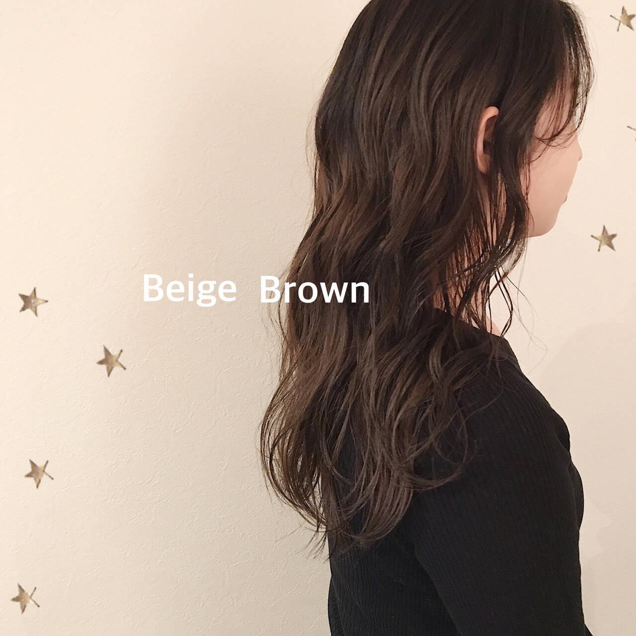 ナチュラル ブラウンベージュ 大人かわいい ベージュヘアスタイルや髪型の写真・画像